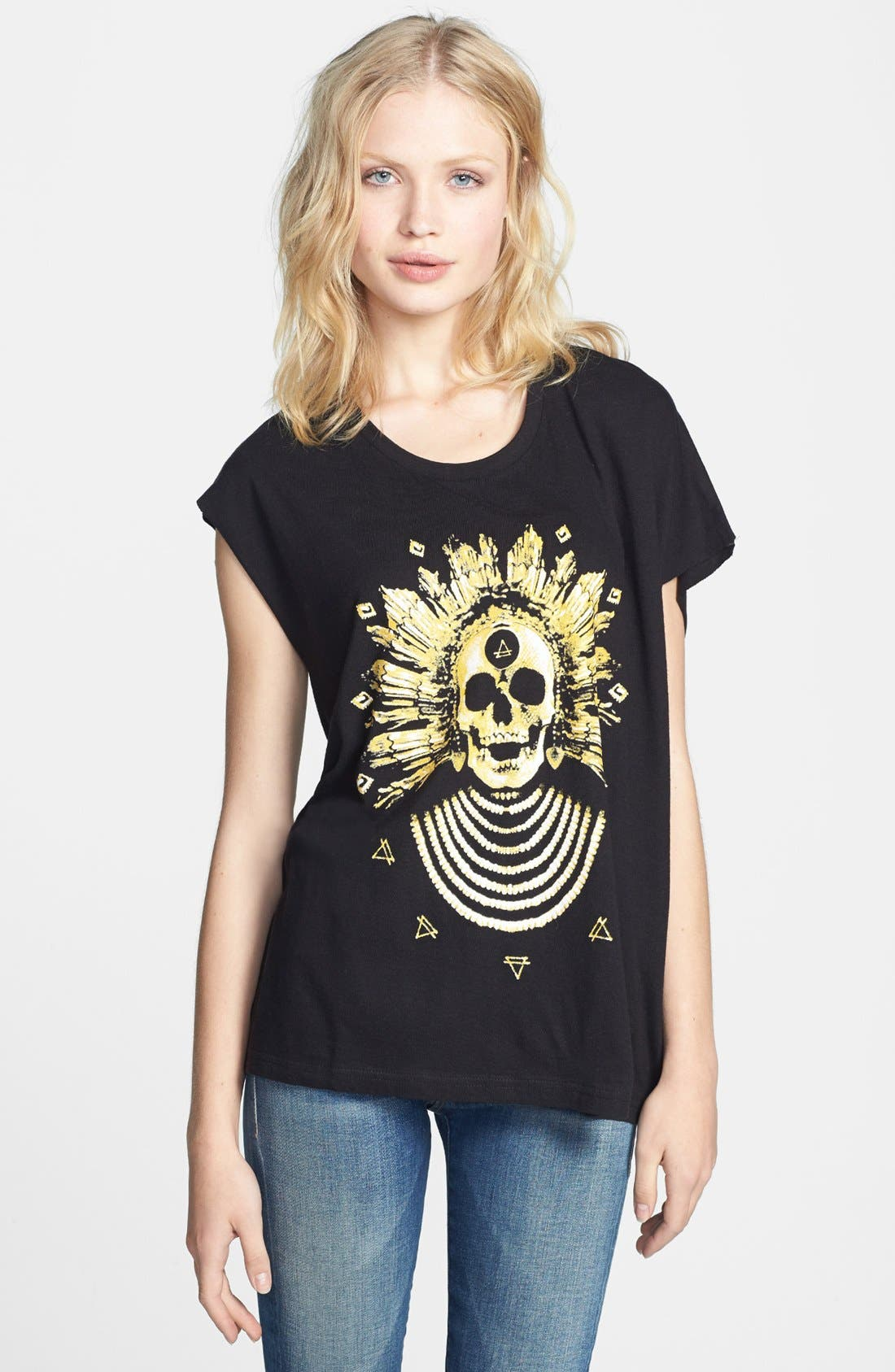 Alternate Image 1 Selected - ELEVENPARIS 'Midelo' Skull Print Asymmetrical Tee