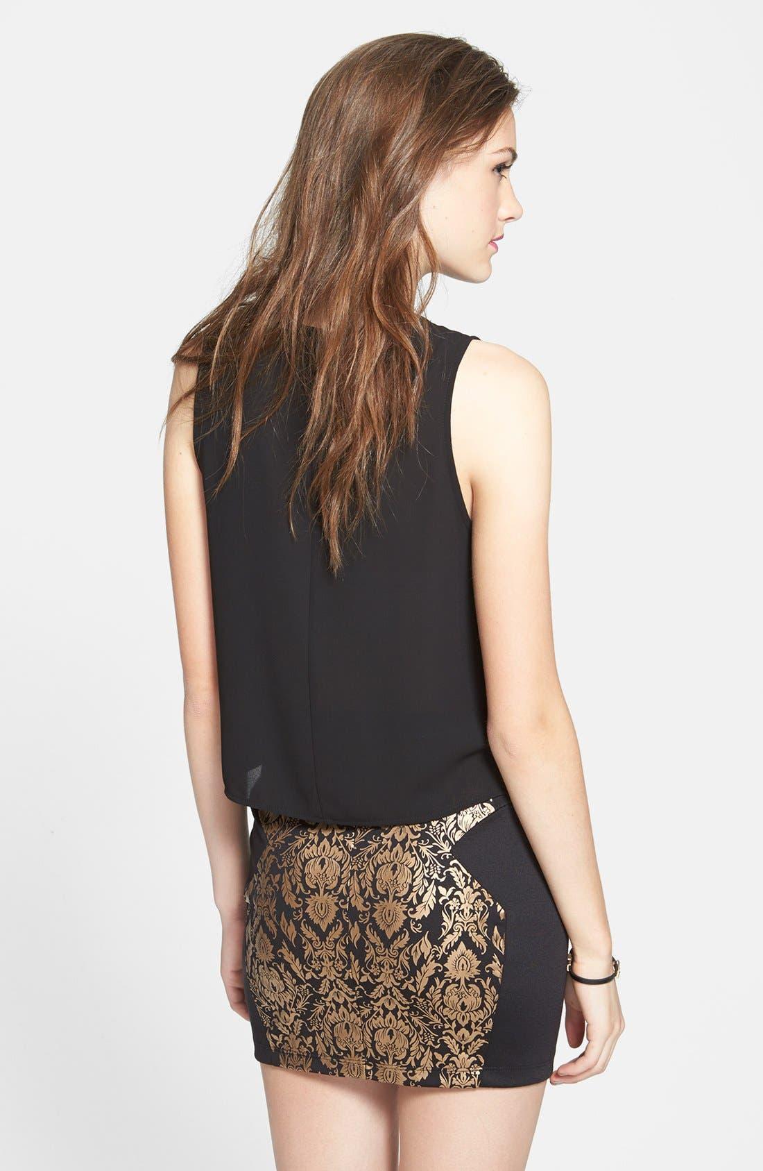 Alternate Image 2  - Lush Metallic Damask Miniskirt (Juniors) (Online Only)