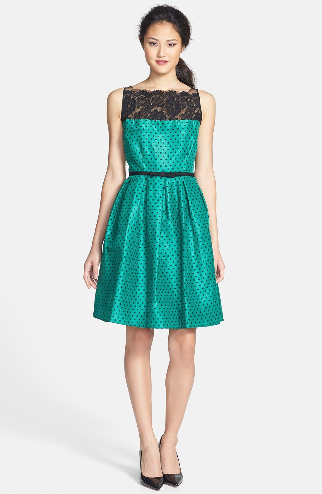 Alternate Image 1 Selected - Taylor Dresses Polka Dot Taffeta Fit & Flare Dress