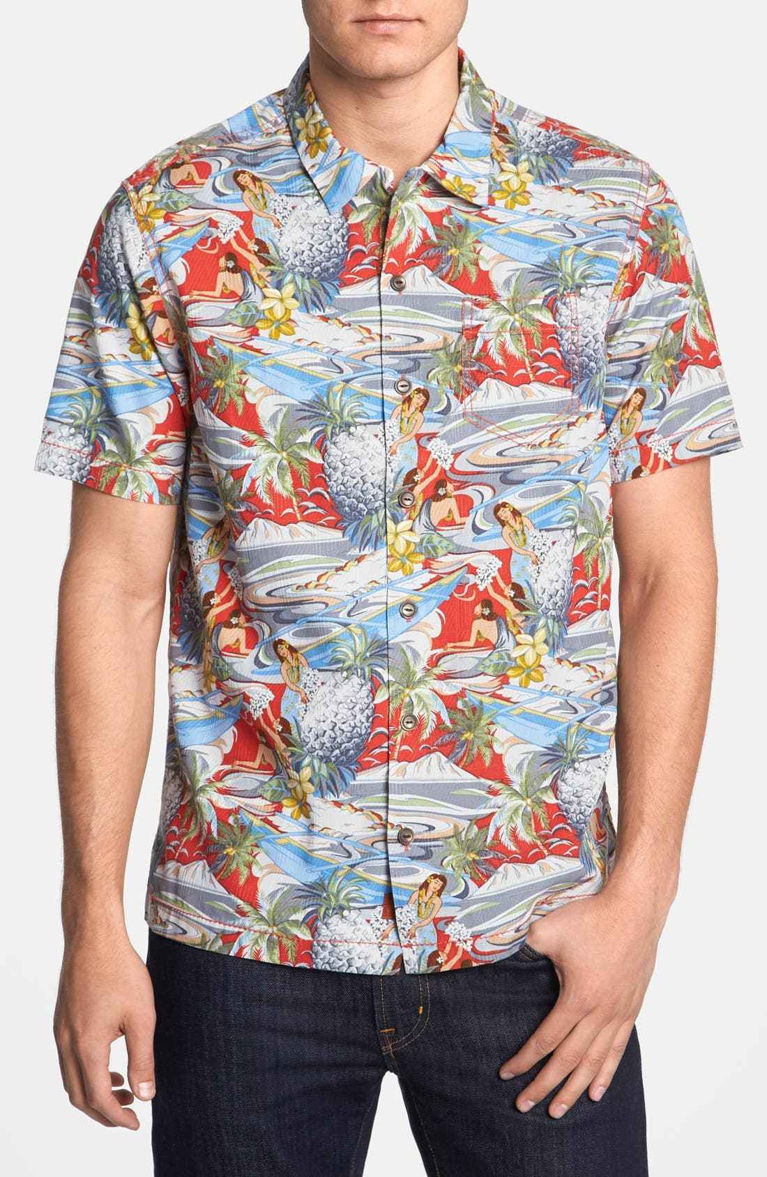 Main Image - Tommy Bahama 'Moroccan Me Crazy' Silk & Cotton Campshirt