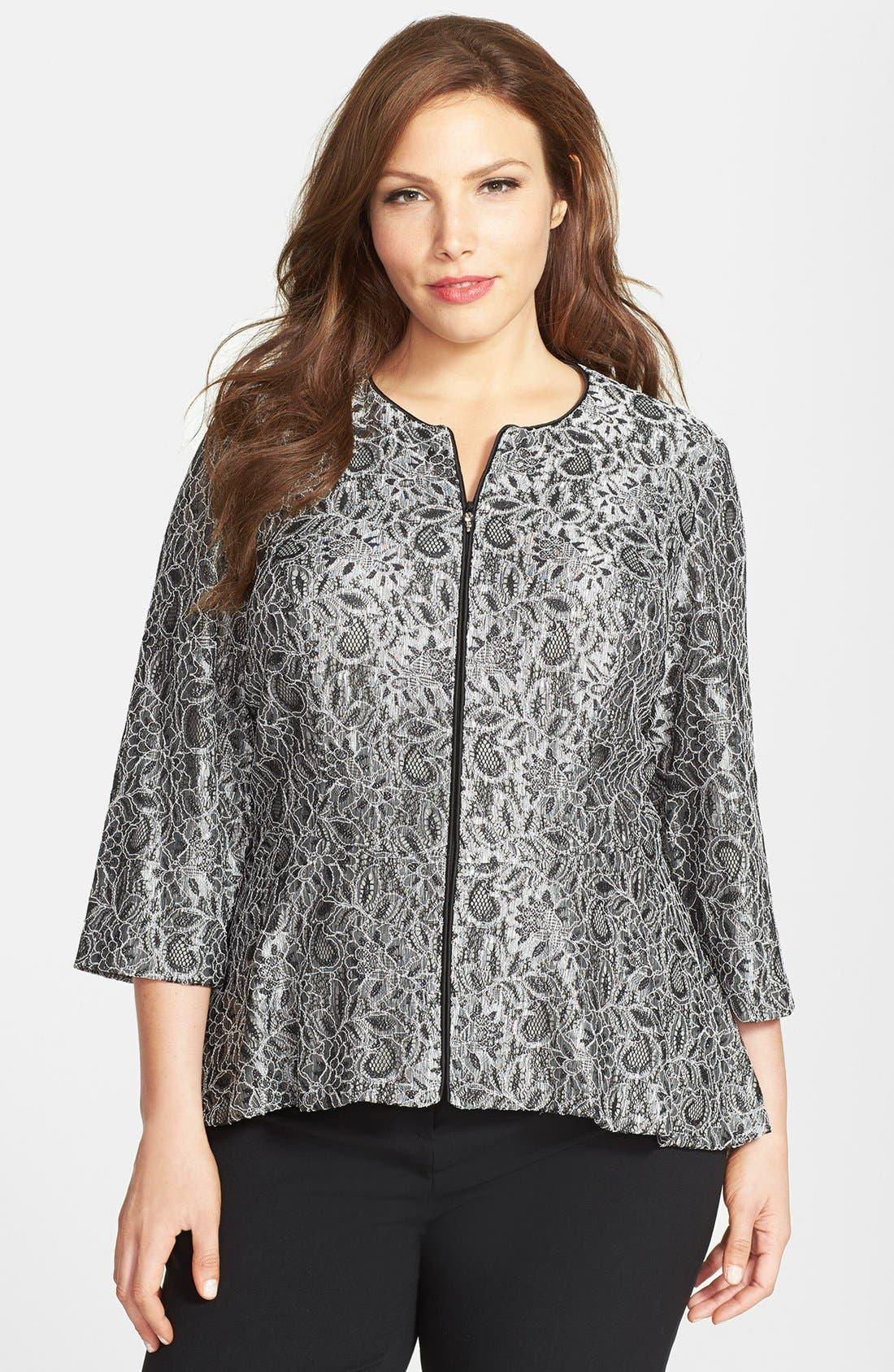 Alternate Image 1 Selected - Alex Evenings Collarless Metallic Lace Jacket (Plus Size)