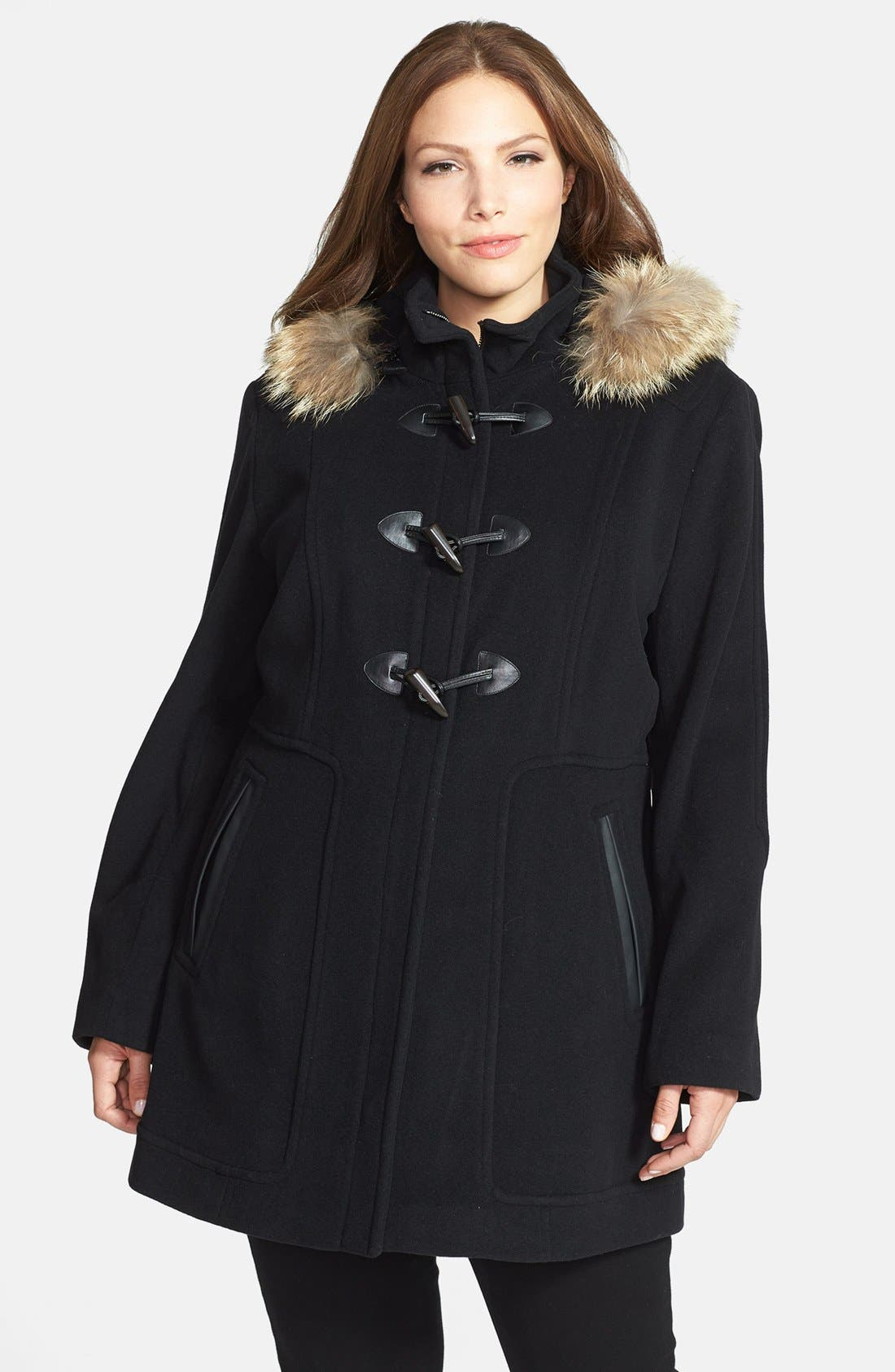 Main Image - Marc New York by Andrew Marc 'Harley' Genuine Coyote Fur Trim Duffle Coat (Plus Size)