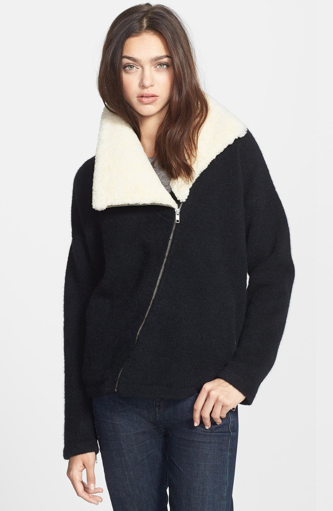 Main Image - Theory 'Hex' Genuine Shearling Collar Jacket
