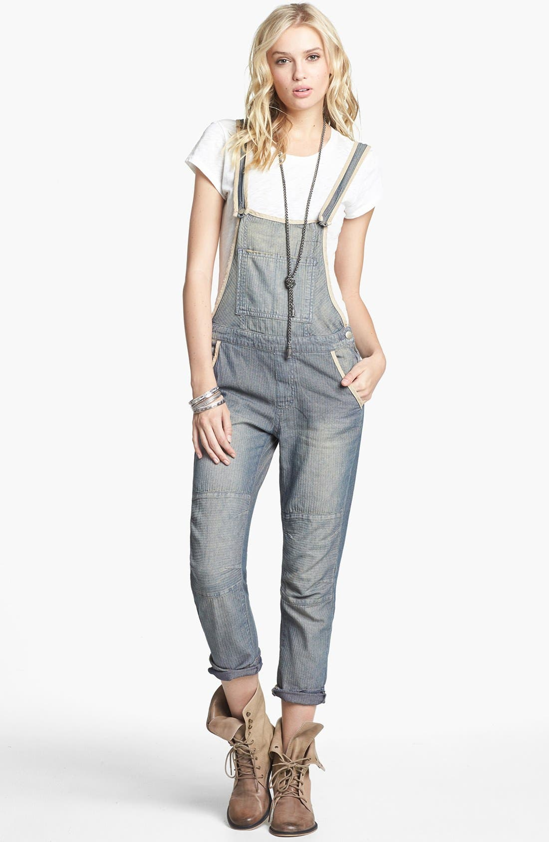 Main Image - Free People 'Thomas' Faded Denim Overalls