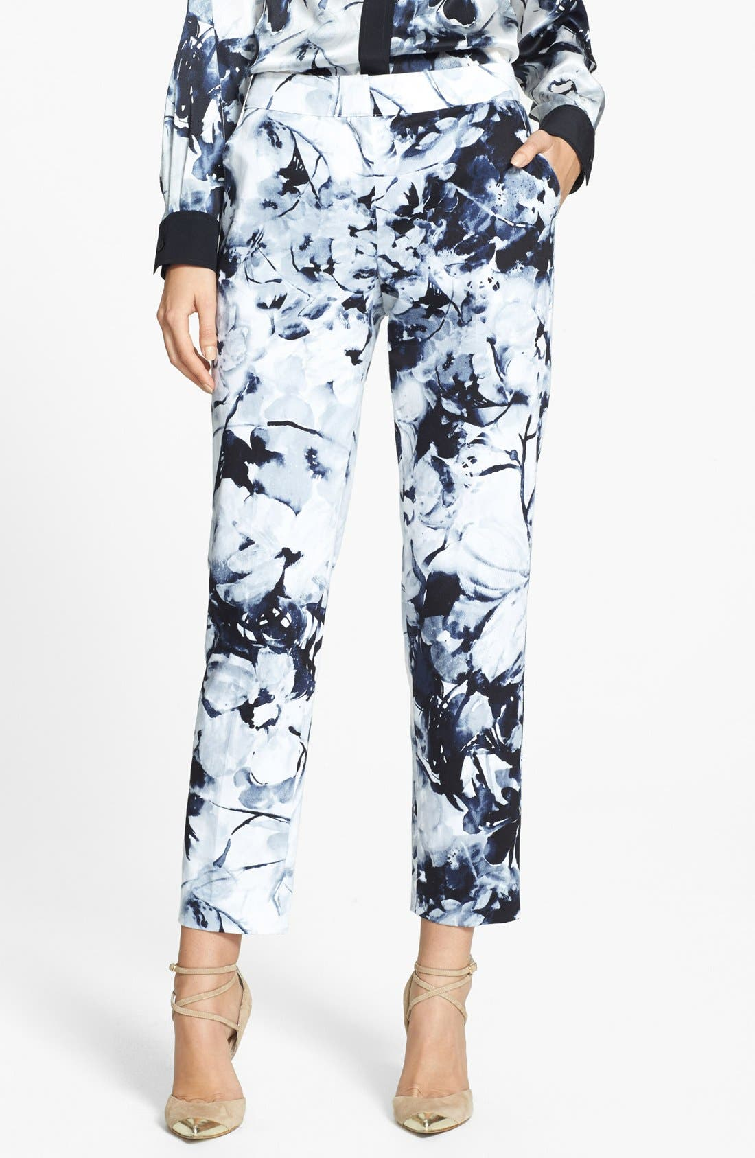 Main Image - St. John Yellow Label 'Emma' Floral Print Cotton Sateen Crop Pants