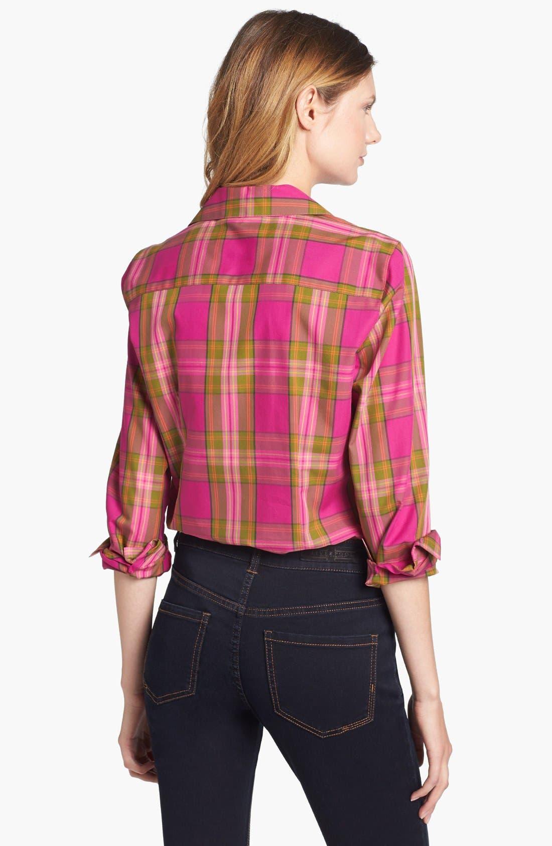 Alternate Image 2  - Foxcroft 'Autumn Tartan' Woven Cotton Shirt (Petite)