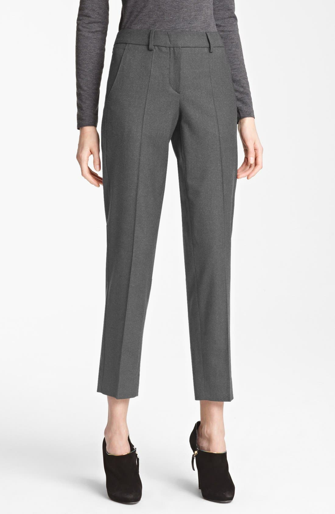 Main Image - Armani Collezioni Slim Stretch Flannel Crop Pants
