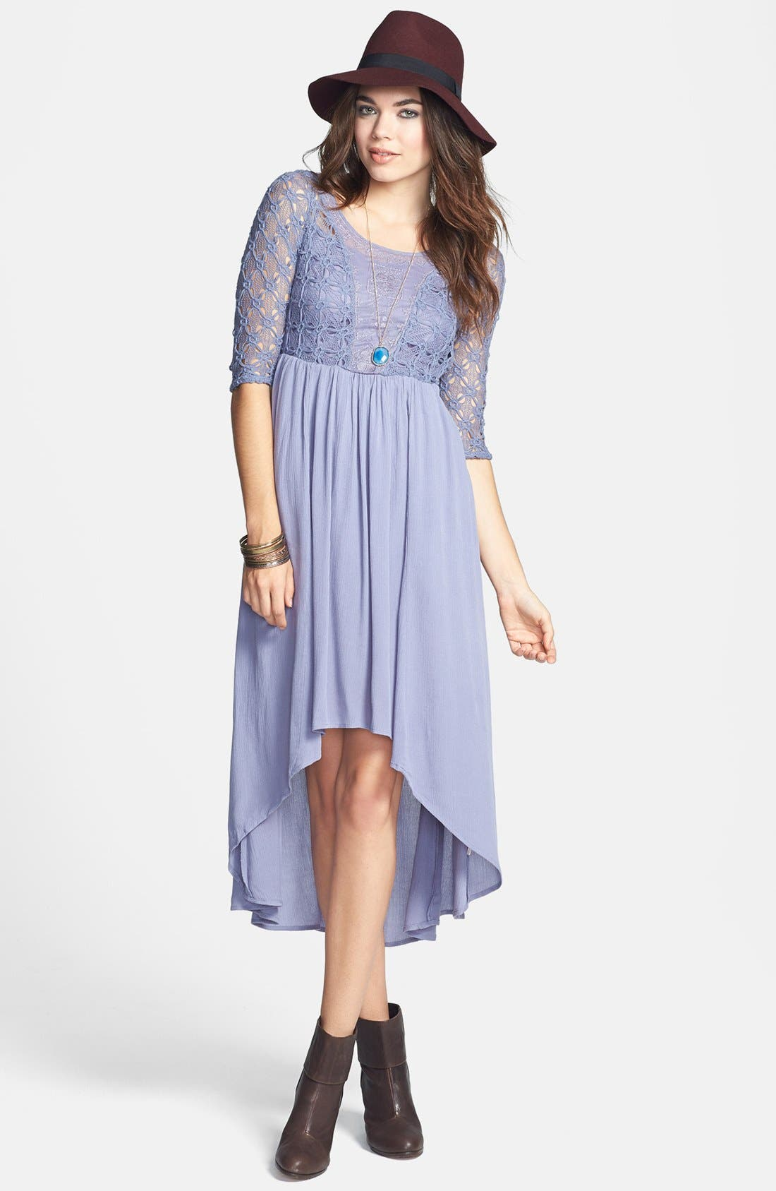 Main Image - Free People 'Lonesome Dove' Mixed Media High/Low Midi Dress