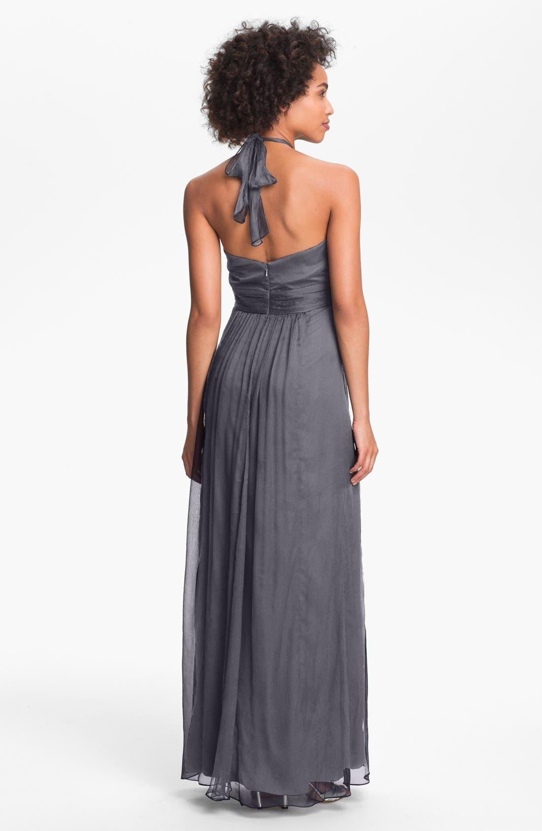 Alternate Image 2  - Amsale Silk Halter Gown