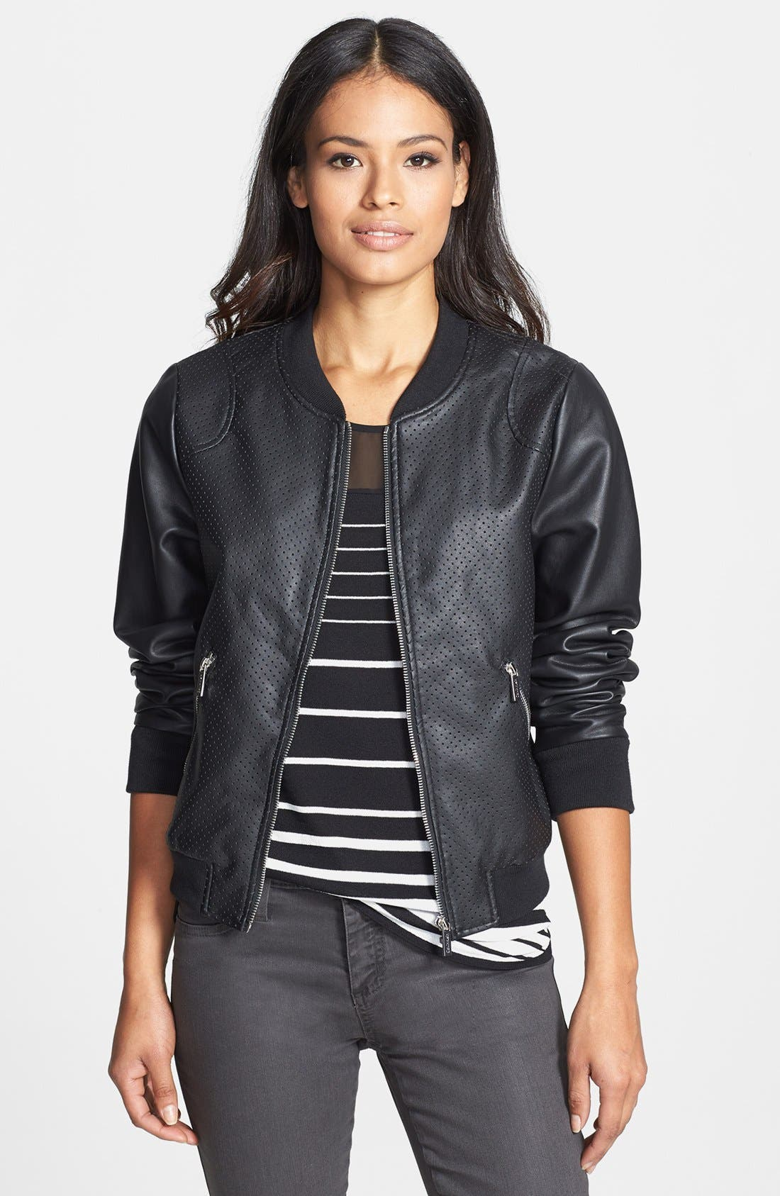 Alternate Image 1 Selected - Calvin Klein Perforated Faux Leather Bomber Jacket