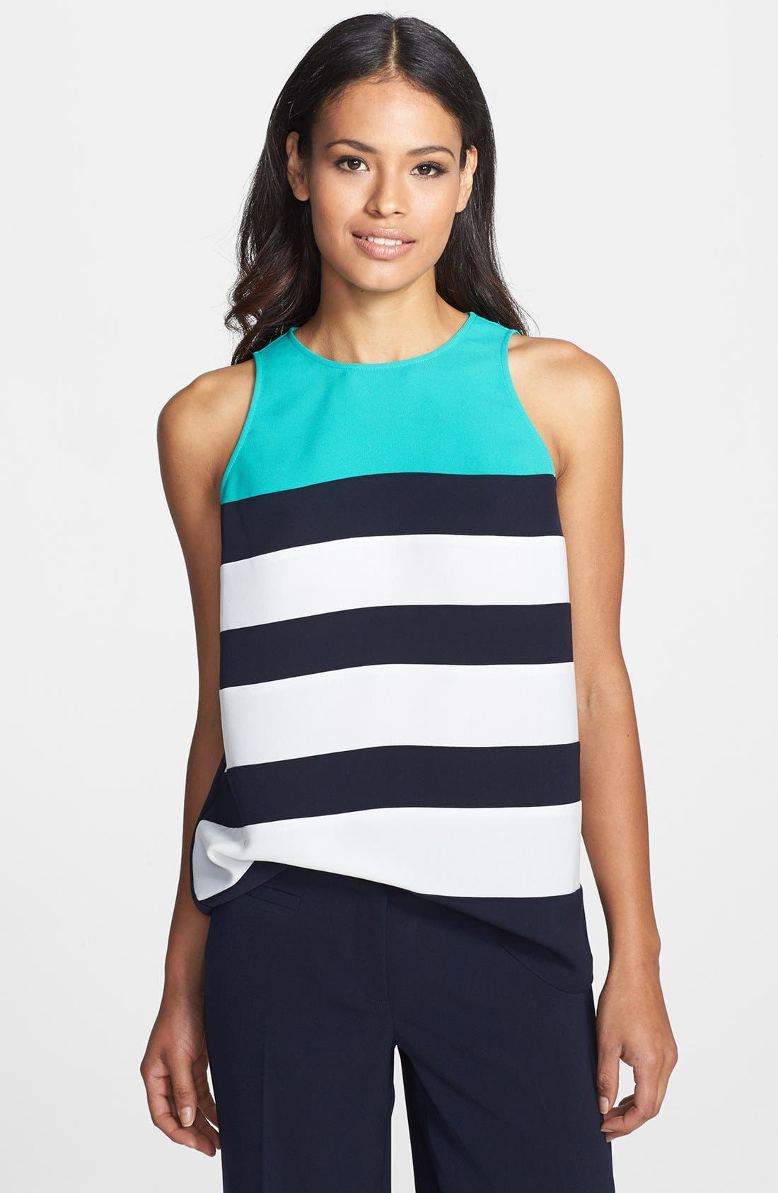 Alternate Image 1 Selected - Adrianna Papell Colorblock Stripe Sleeveless Shell