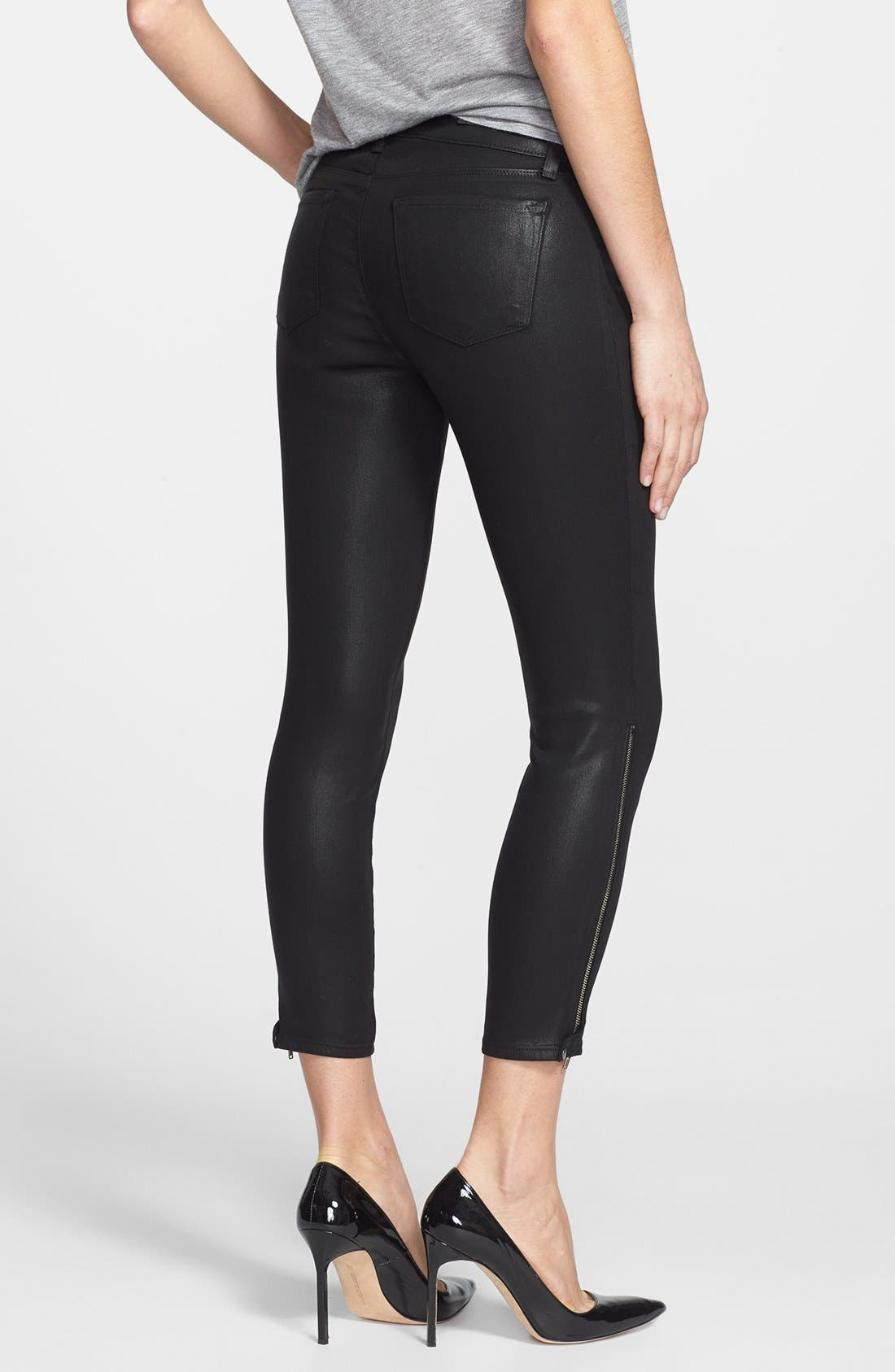 Alternate Image 2  - J Brand '1446 Carey' Moto Skinny Crop Pants (Lacquered Black)