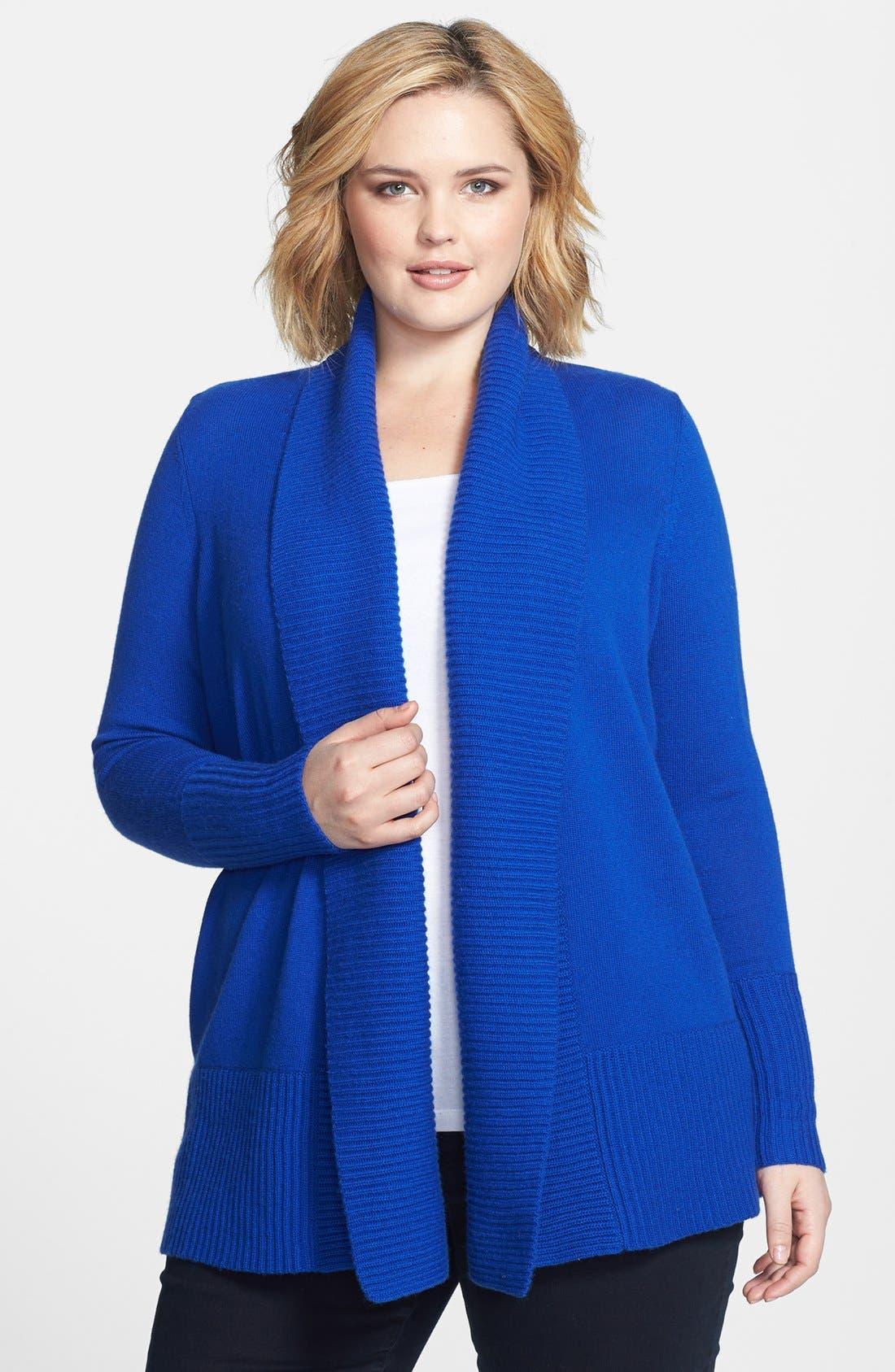 Alternate Image 1 Selected - Caslon® Shawl Collar Wool & Cashmere Cardigan (Plus Size)