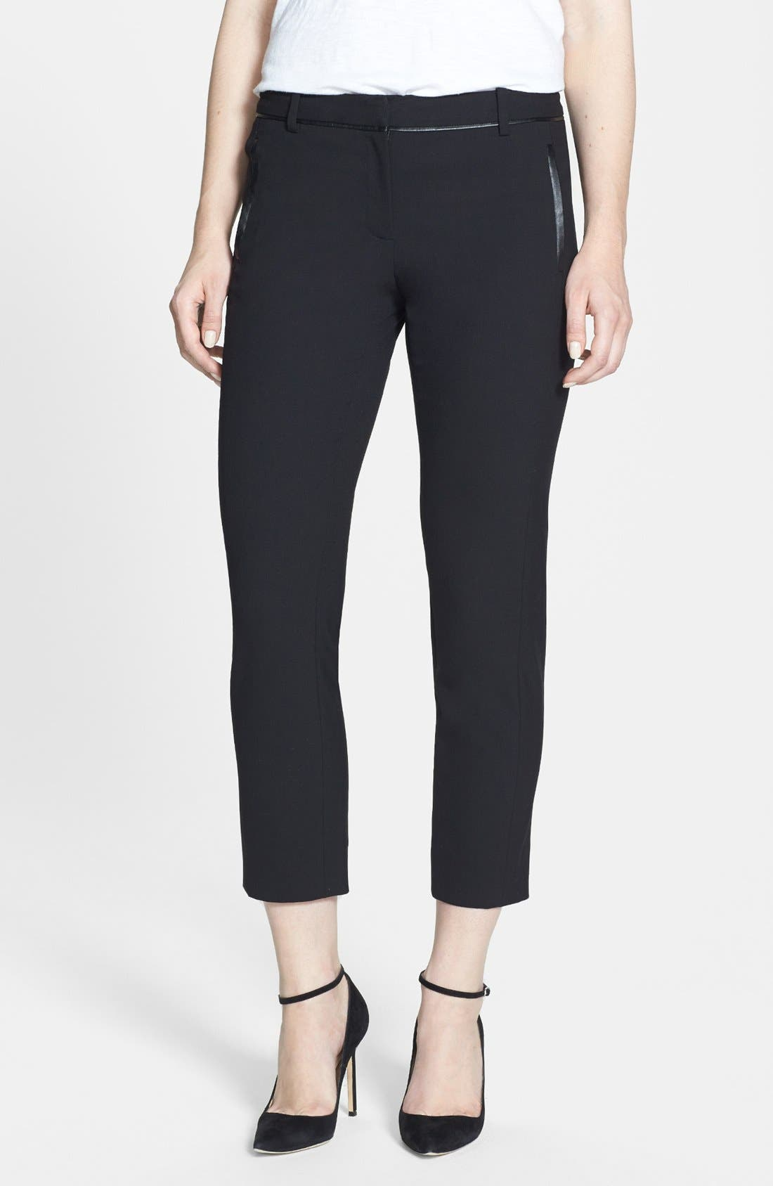 Alternate Image 1 Selected - Vince Camuto 'Scarpa' Faux Leather Trim Skinny Crop Pants