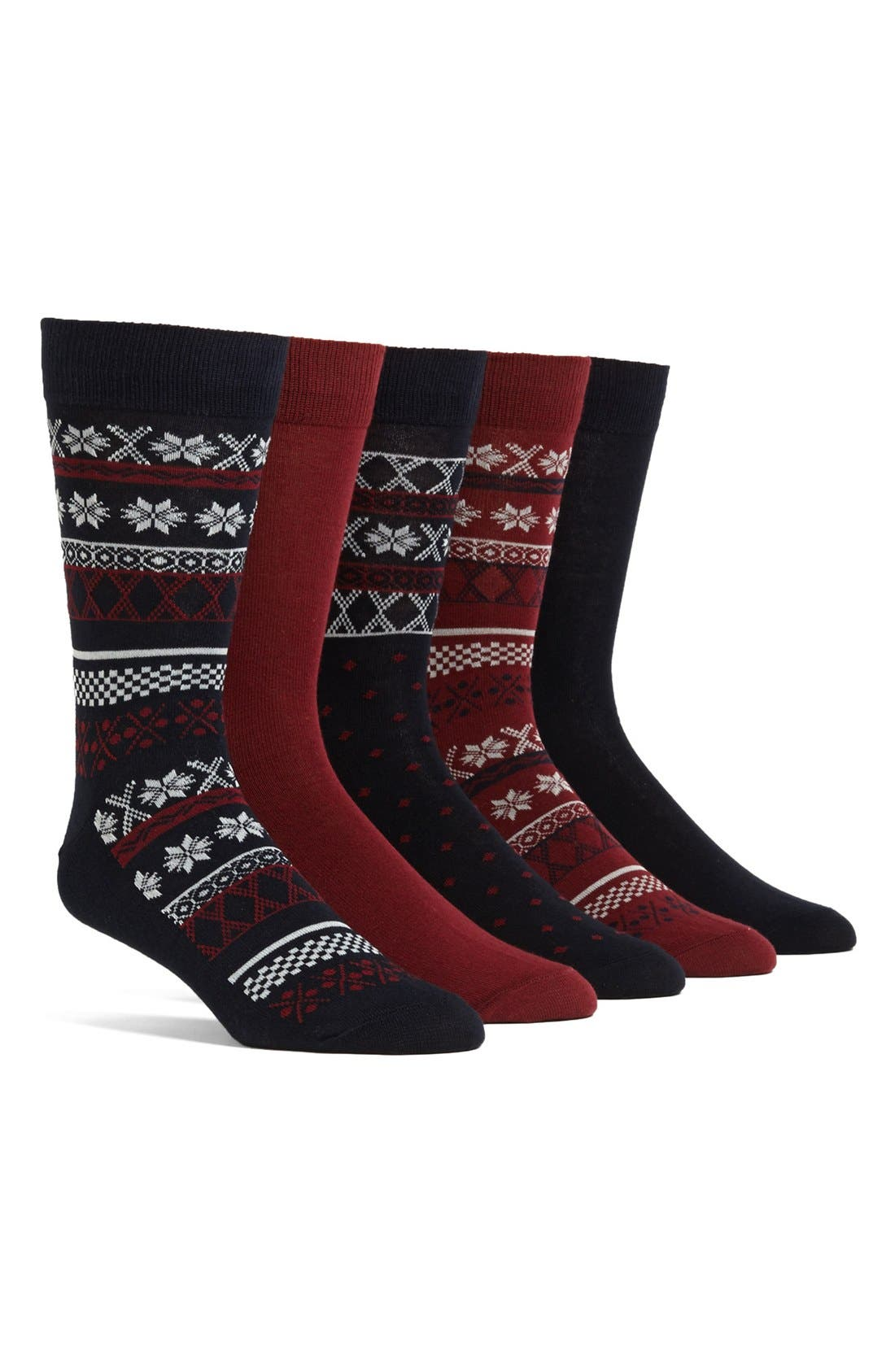 Alternate Image 1 Selected - Topman Fair Isle Socks (5-Pack)