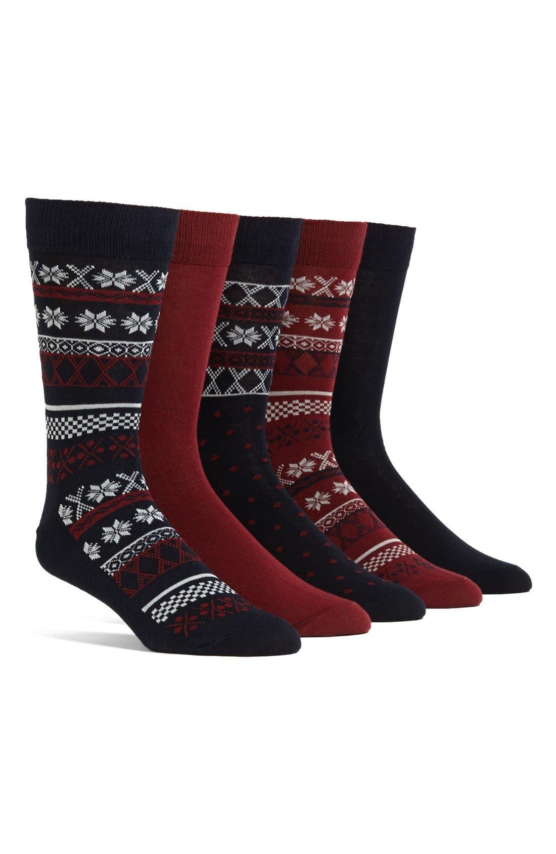 Main Image - Topman Fair Isle Socks (5-Pack)