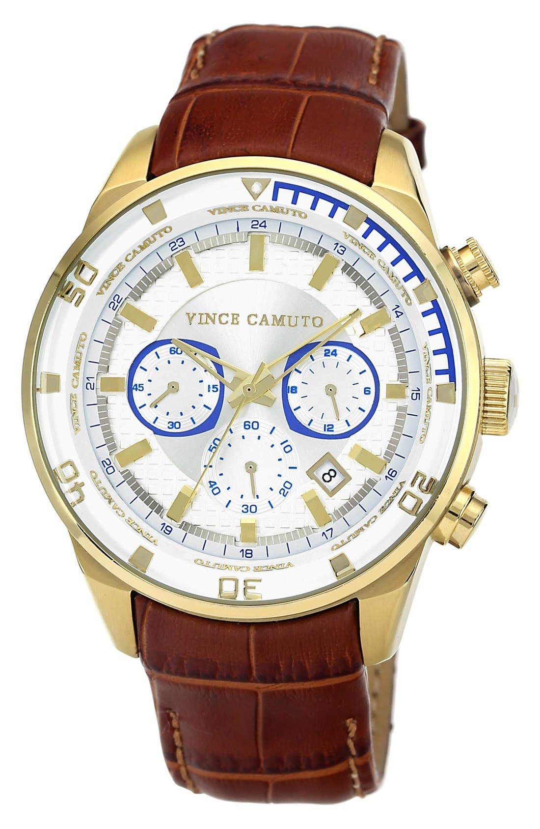 Main Image - Vince Camuto 'The Apolo' Round Leather Strap Watch, 45mm