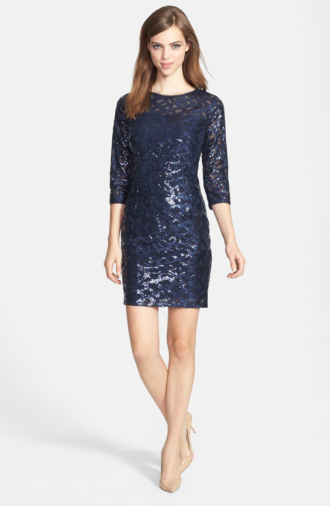 Alternate Image 1 Selected - Aidan by Aidan Mattox Long Sleeve Sequin Dress