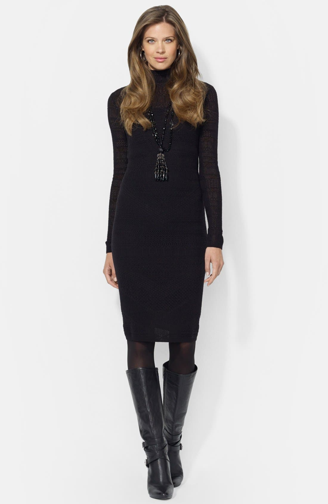 Main Image - Lauren Ralph Lauren Mock Neck Wool Dress
