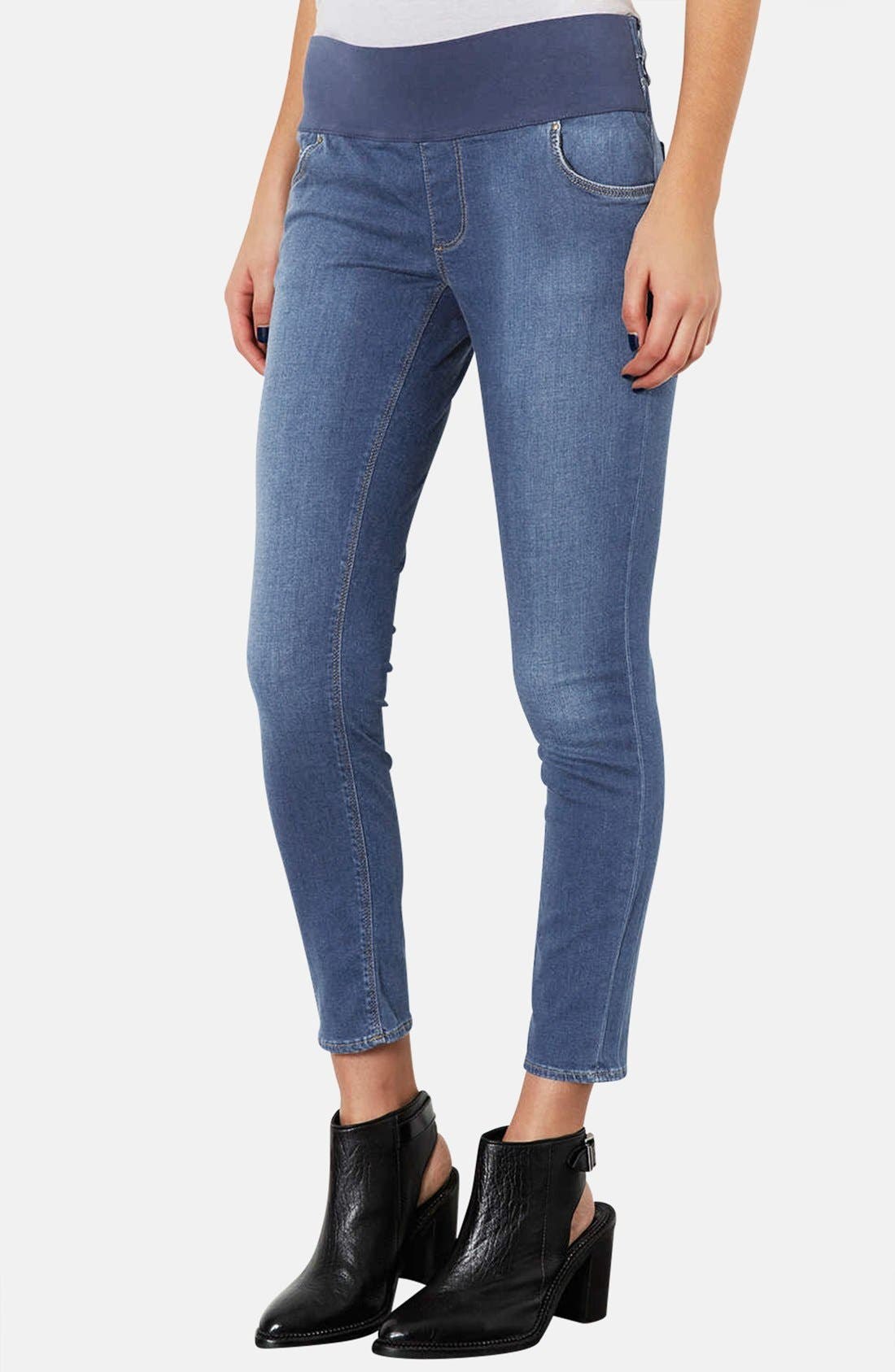 Main Image - Topshop Moto 'Leigh' Skinny Maternity Jeans (Short)(Mid Stone)