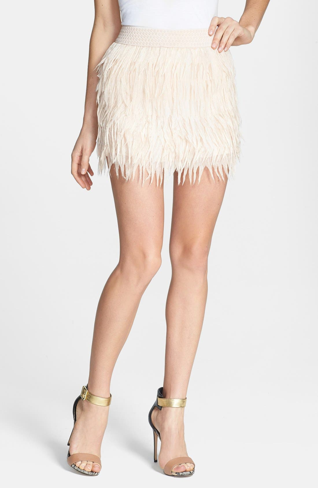 Main Image - Press Faux Feather Miniskirt