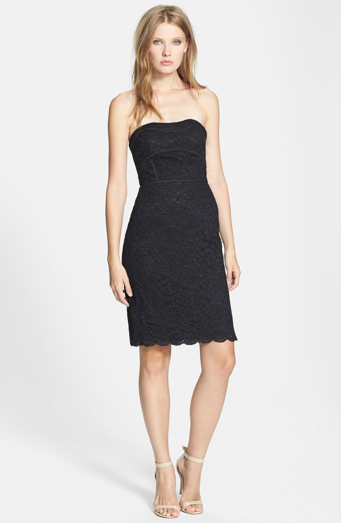 Alternate Image 1 Selected - Diane von Furstenberg 'Bailey' Piped Lace Strapless Dress