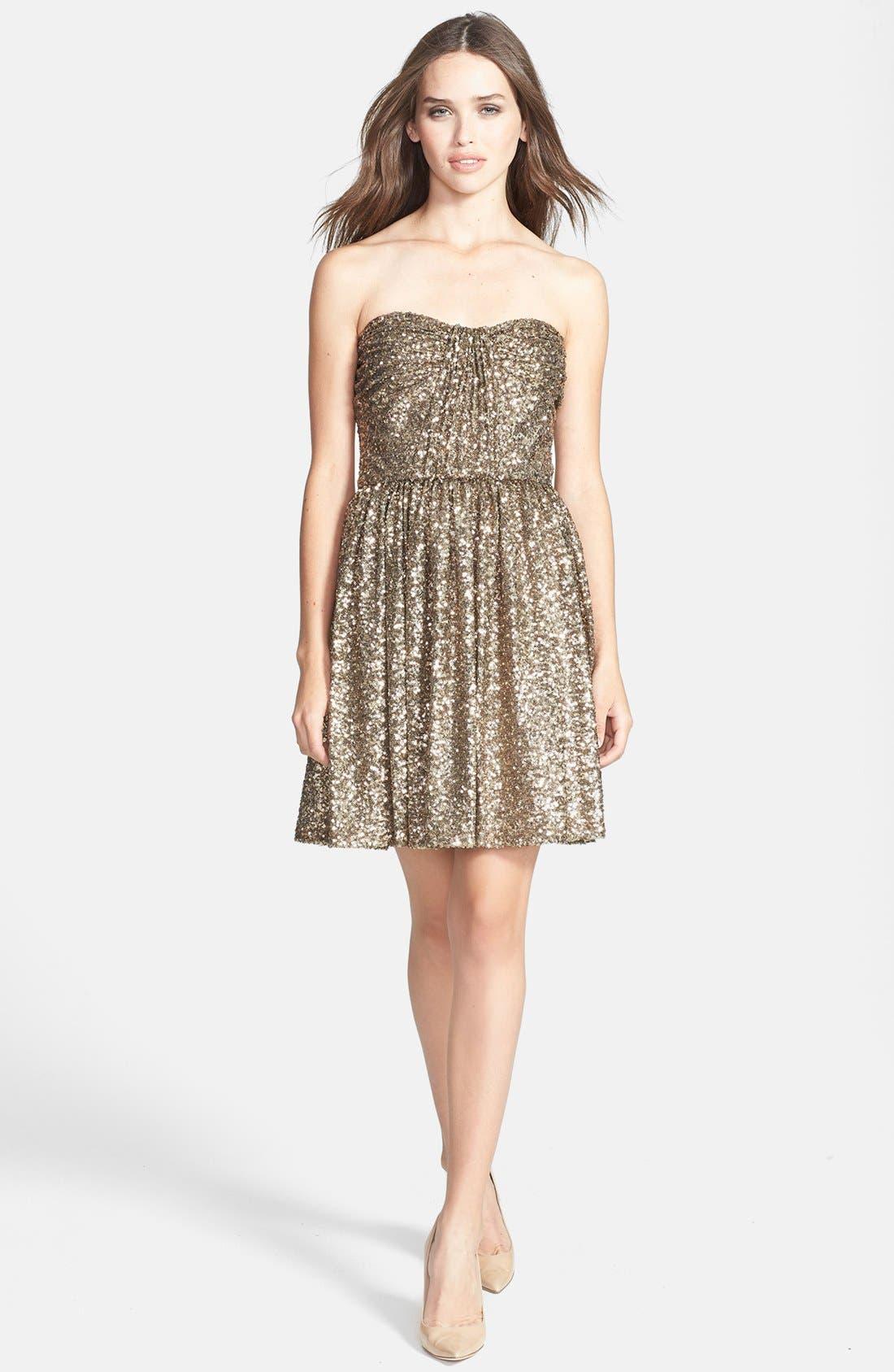 Alternate Image 1 Selected - Jill Jill Stuart Strapless Sequin Fit & Flare Dress
