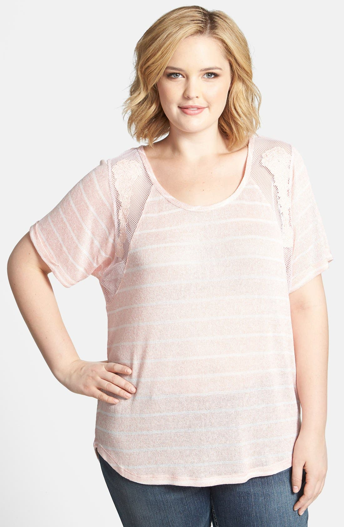 Main Image - Jessica Simpson 'Scarlett Hatchi' Knit & Lace Top (Plus Size)