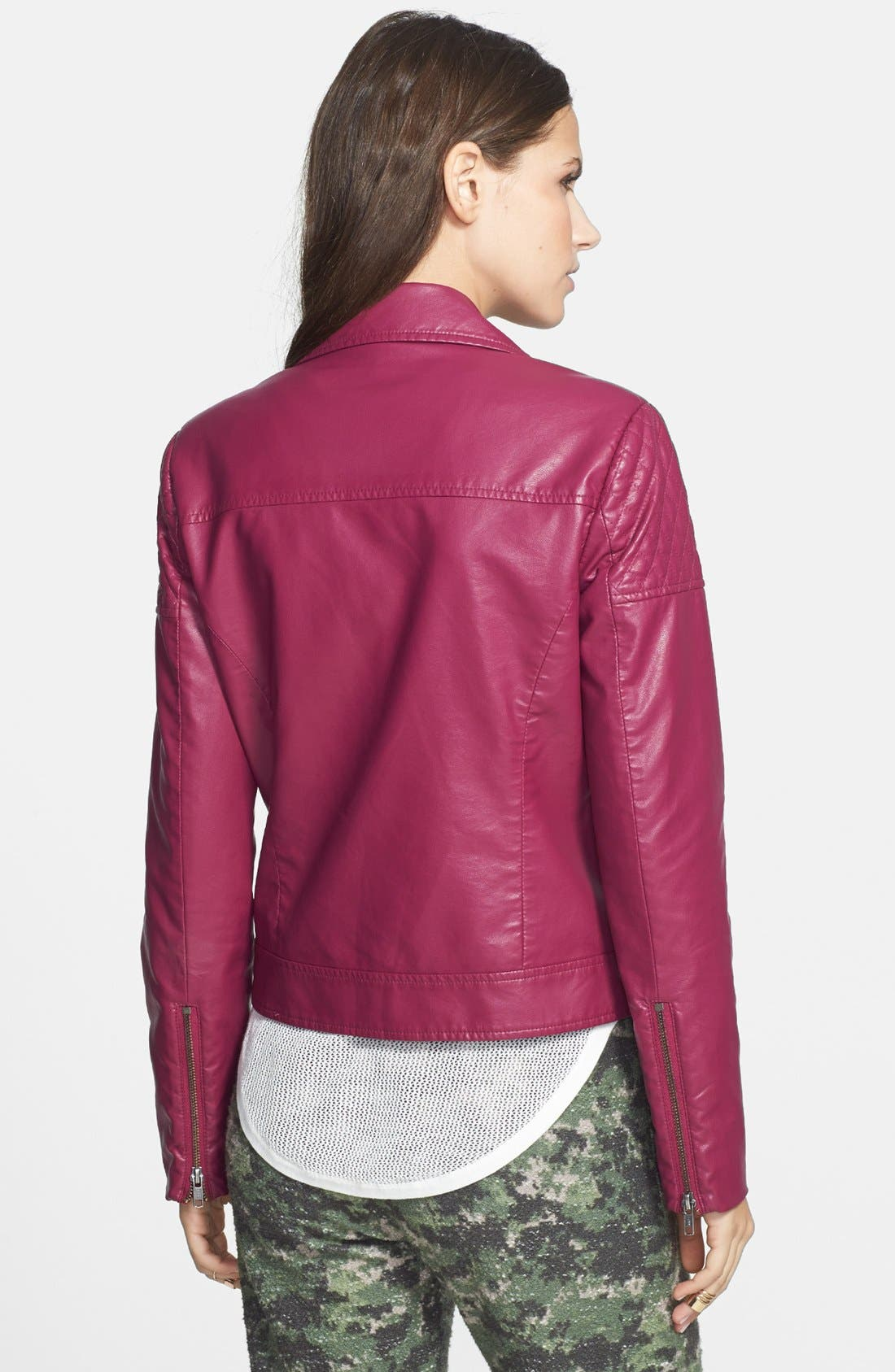 Alternate Image 2  - Mural Quilted Shoulder Faux Leather Moto Jacket