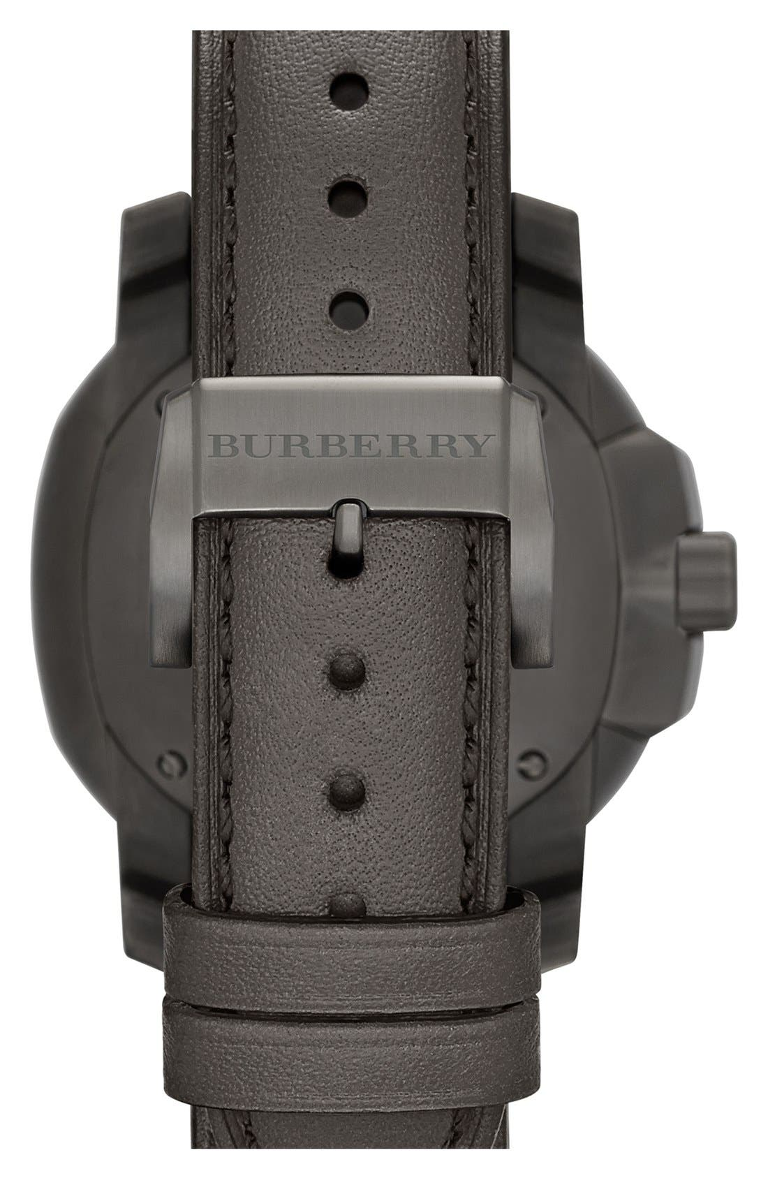 Alternate Image 2  - Burberry the Britain Chronograph Leather Strap Watch, 47mm