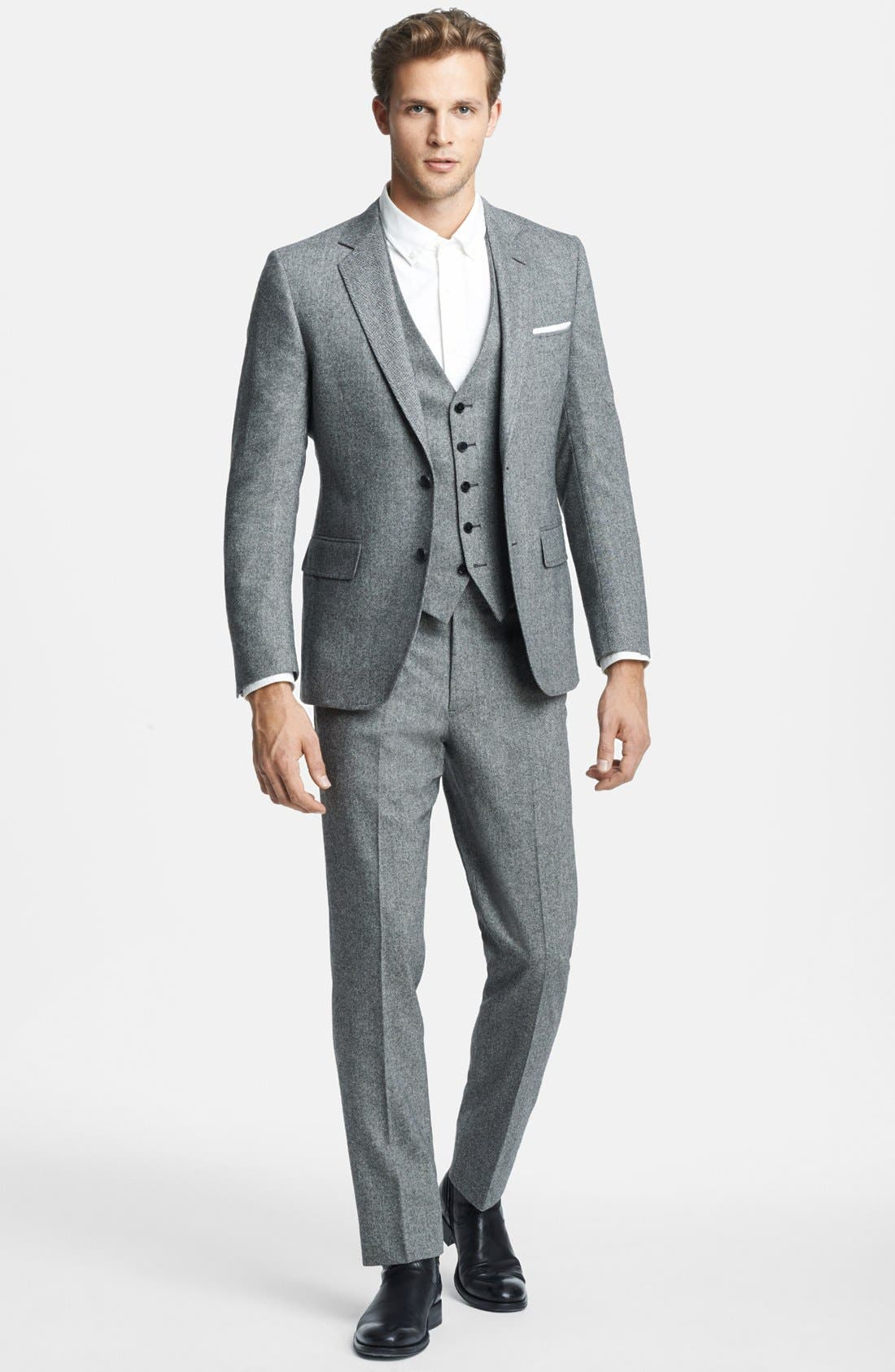 Alternate Image 1 Selected - Billy Reid 'Ellerman' Herringbone Wool Blend Suit