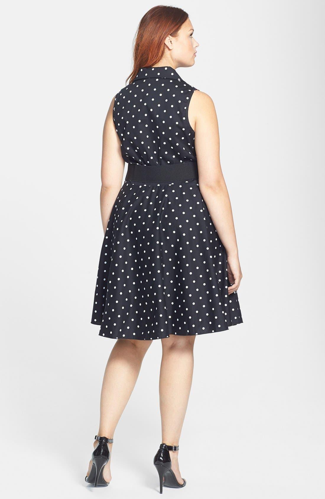 Alternate Image 2  - City Chic Polka Dot Cotton Sateen Fit & Flare Dress (Plus Size)