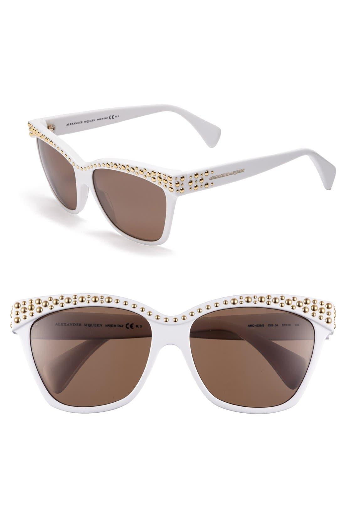 Main Image - Alexander McQueen 57mm Studded Sunglasses