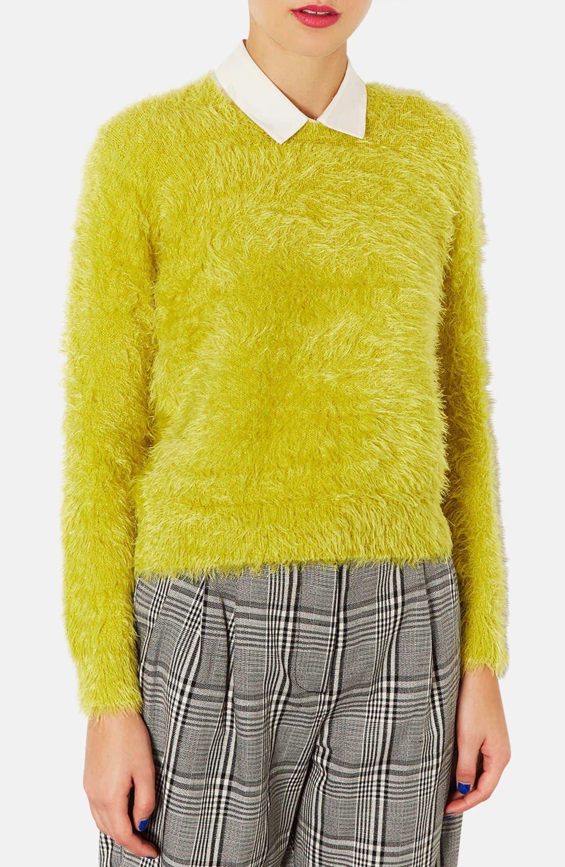 Main Image - Topshop Textured Crewneck Sweater (Petite)