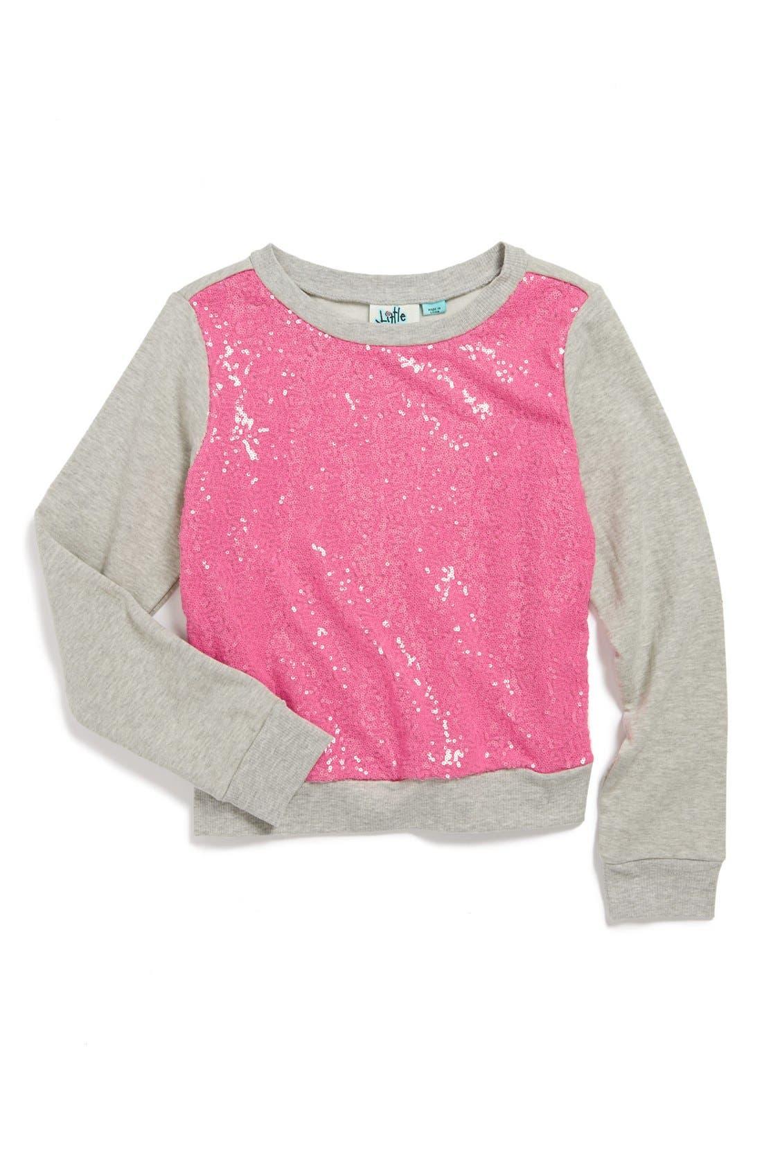 Alternate Image 1 Selected - Miken Clothing Sequin Sweatshirt (Big Girls)
