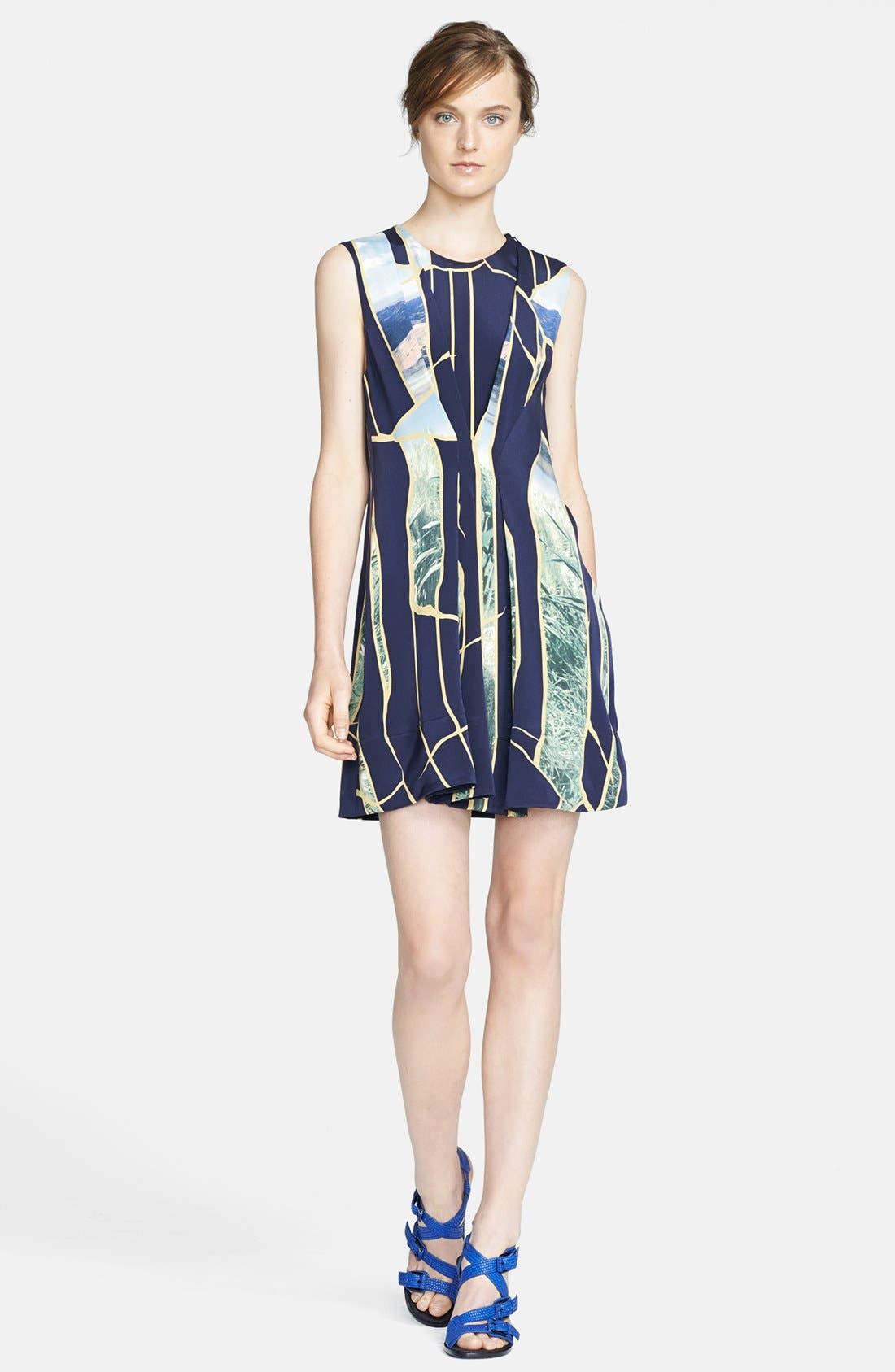 Main Image - 3.1 Phillip Lim Gathered Front Print Silk Dress