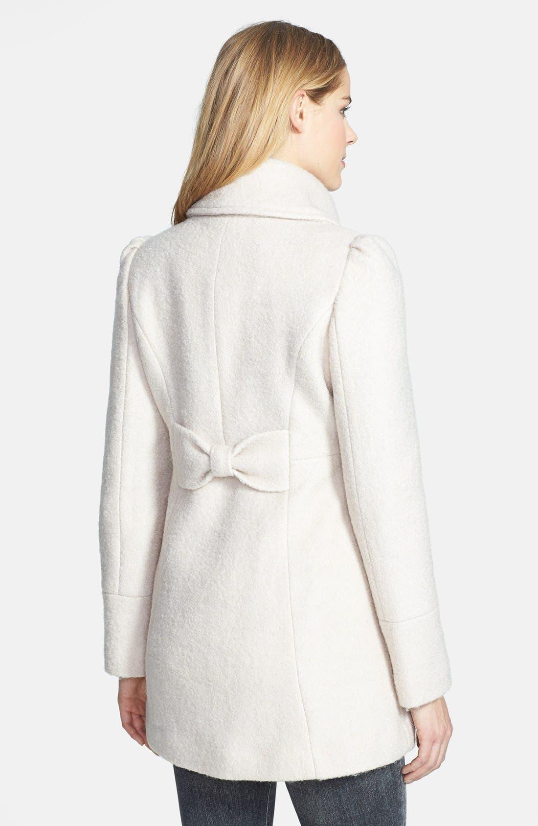 Alternate Image 2  - GUESS Envelope Collar Double Breasted Bouclé Coat (Petite)