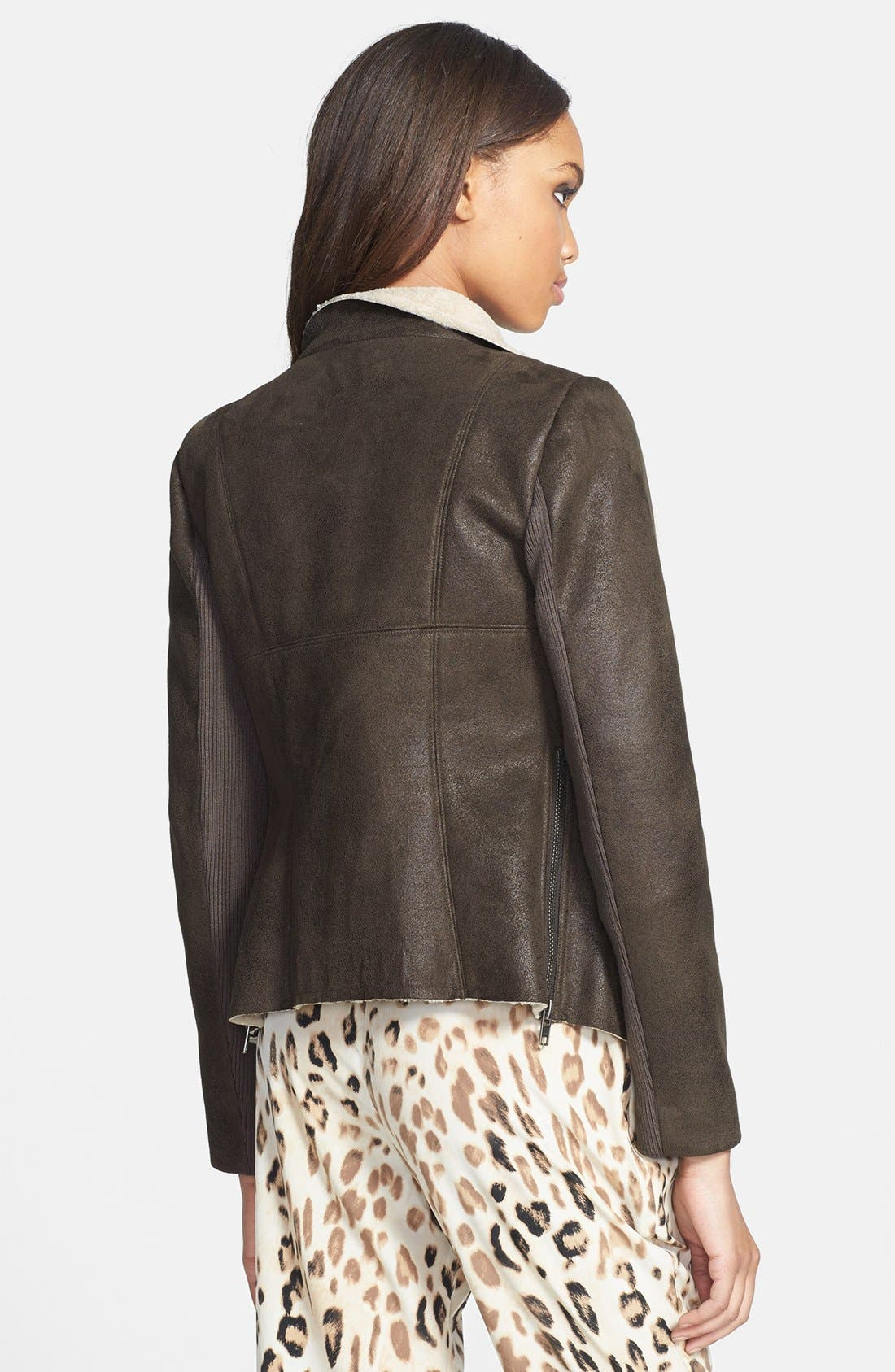 Alternate Image 2  - Mural Faux Shearling Moto Jacket