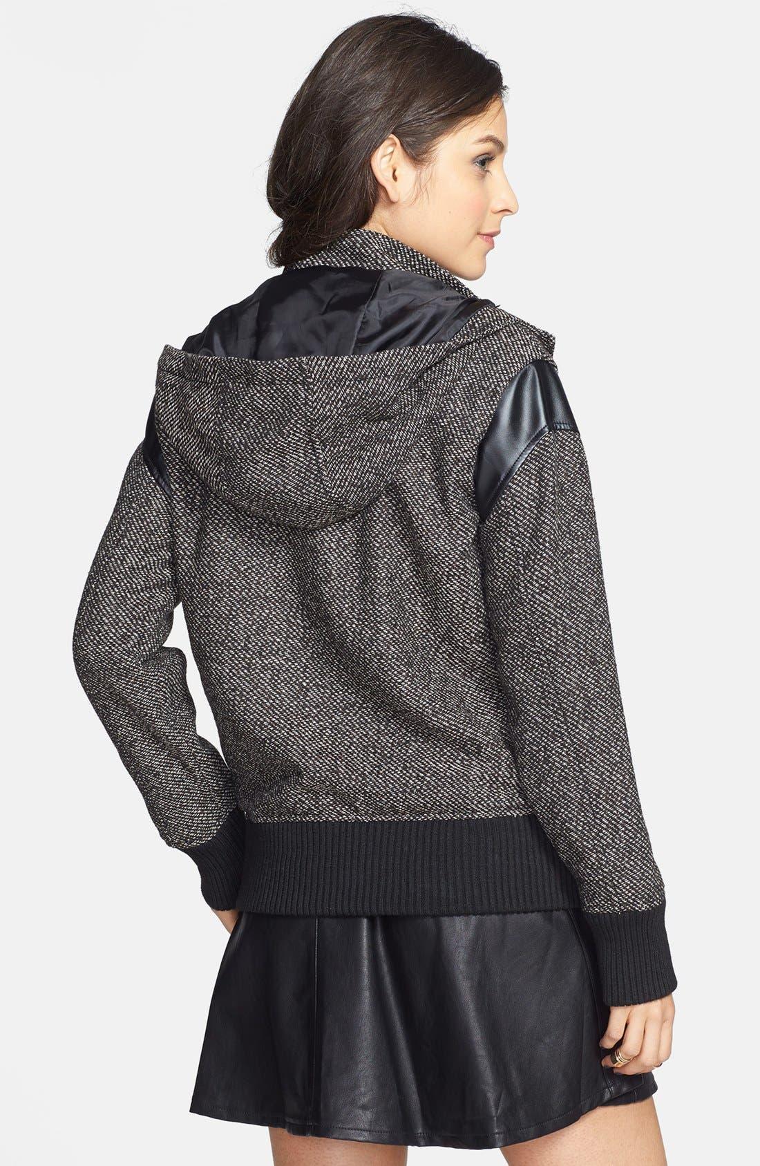 Alternate Image 2  - BP. Faux Leather Shoulder Tweed Bomber Jacket (Juniors)
