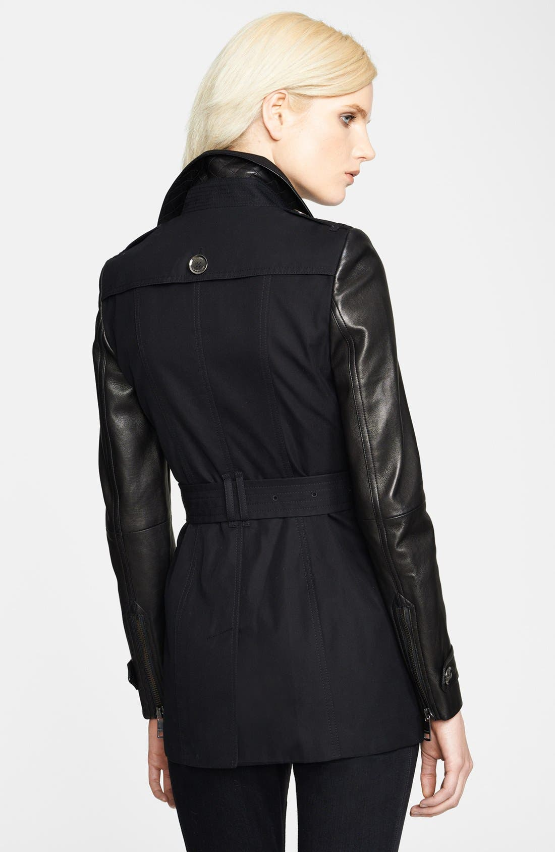 Alternate Image 2  - Burberry London Asymmetrical Zip Leather Accent Trench Coat