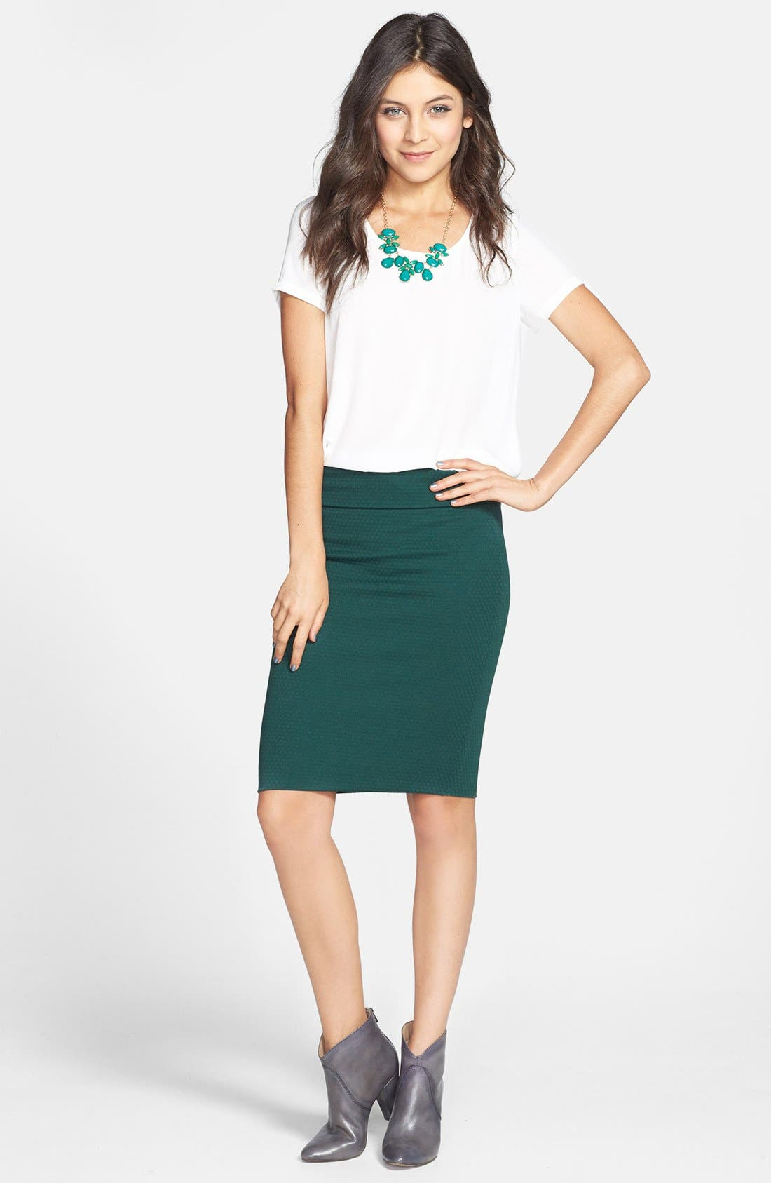 Main Image - Lily White Midi Pencil Skirt (Juniors) (Online Only)