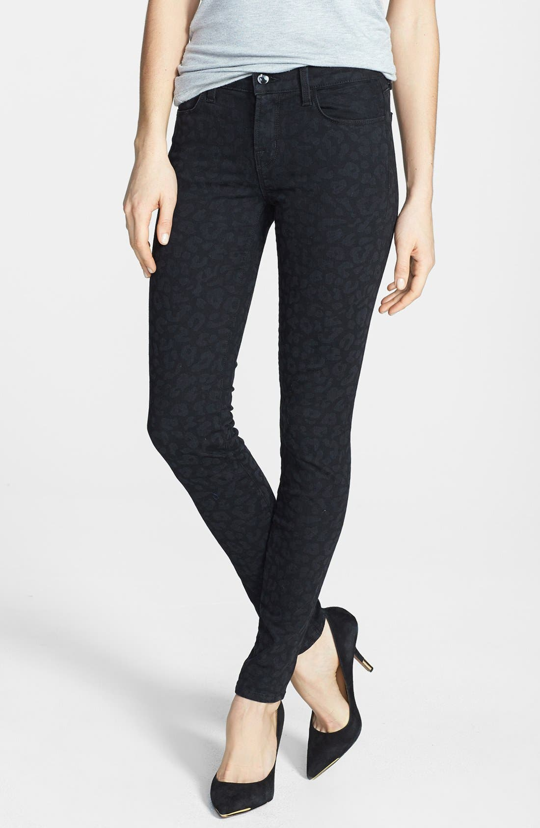 Alternate Image 1 Selected - J Brand '620' Mid Rise Skinny Jeans (Black Leopard)