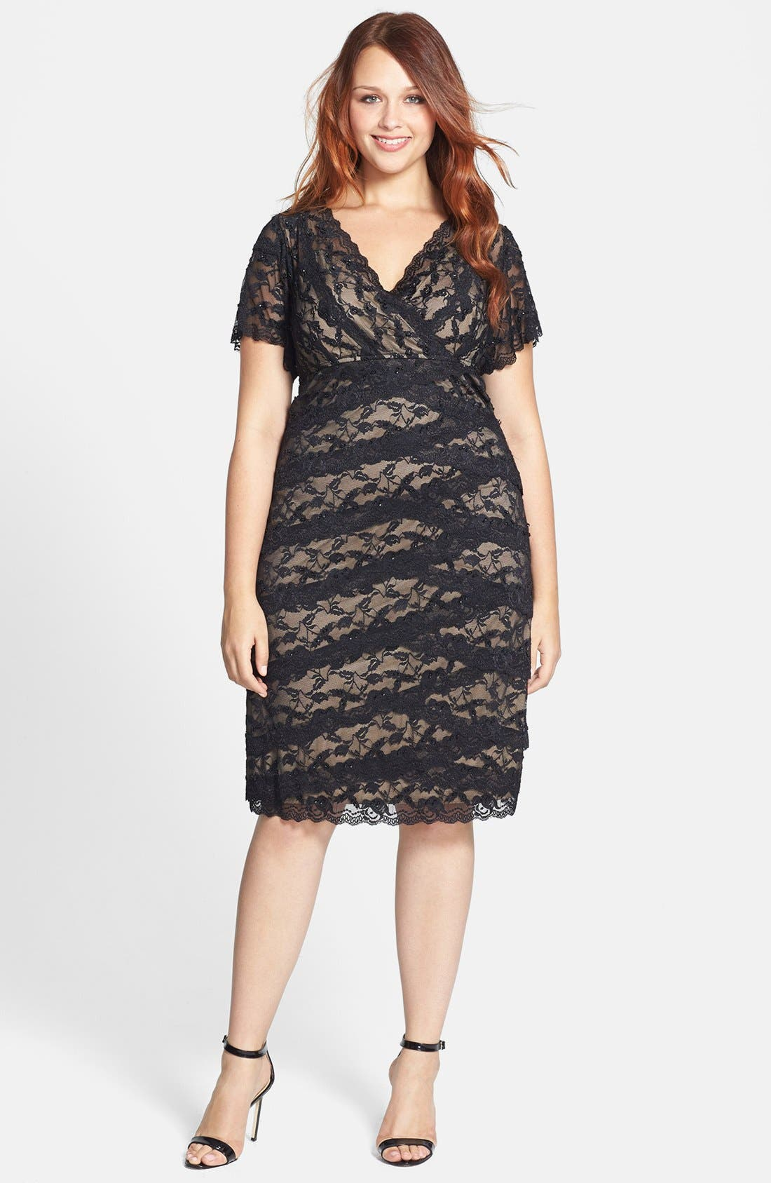 Alternate Image 1 Selected - Marina Beaded Lace Dress (Plus Size)