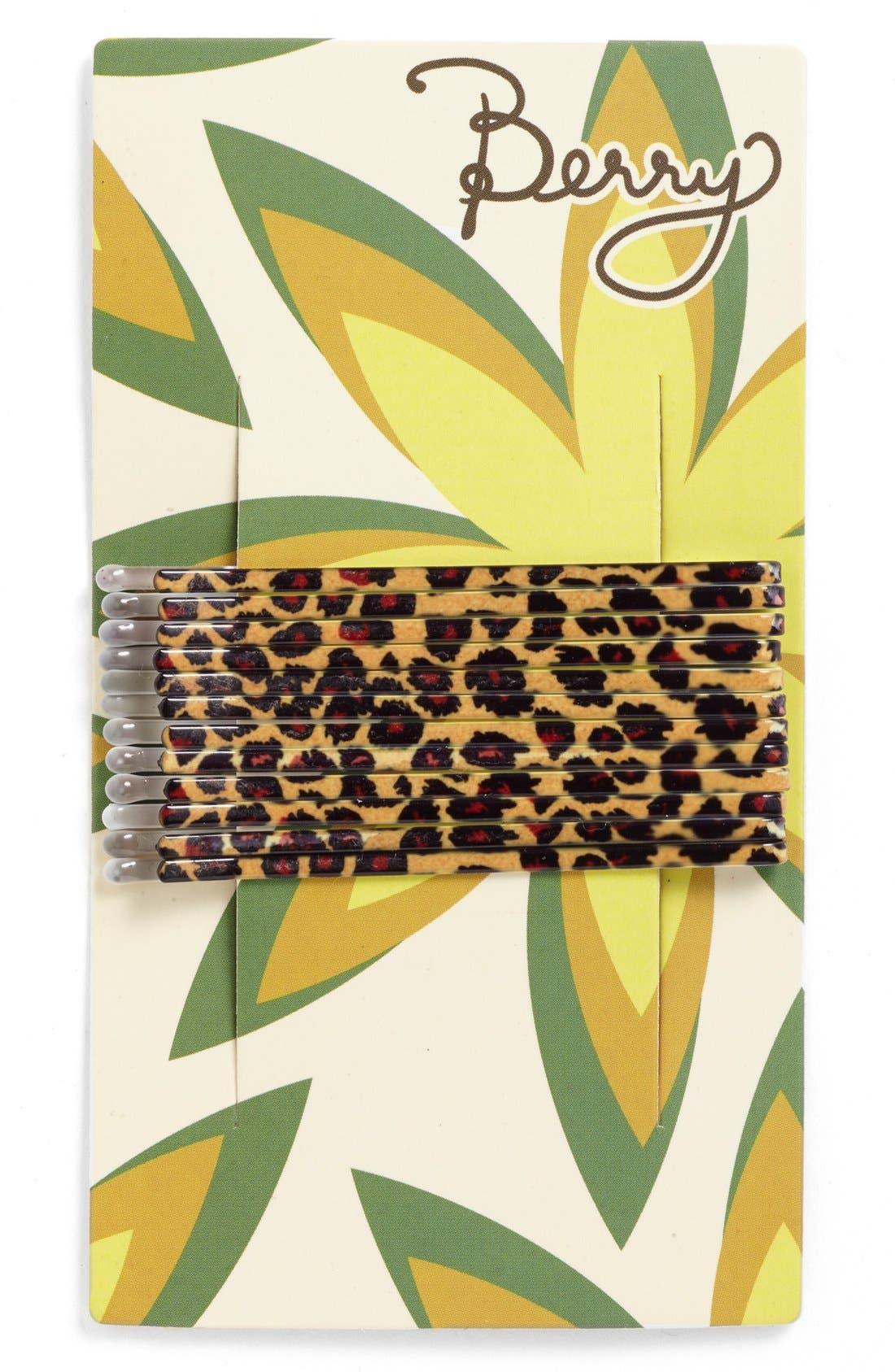 Alternate Image 2  - Berry Animal Print Bobby Pins (Set of 12)