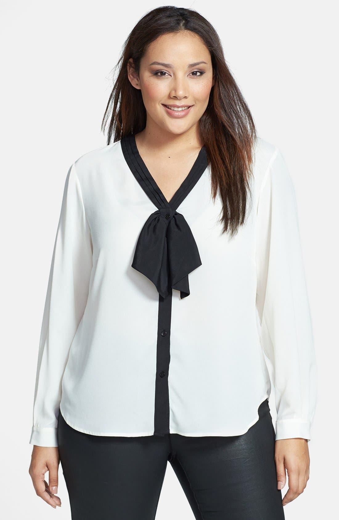 Alternate Image 1 Selected - Anne Klein Bow Front Blouse (Plus Size)