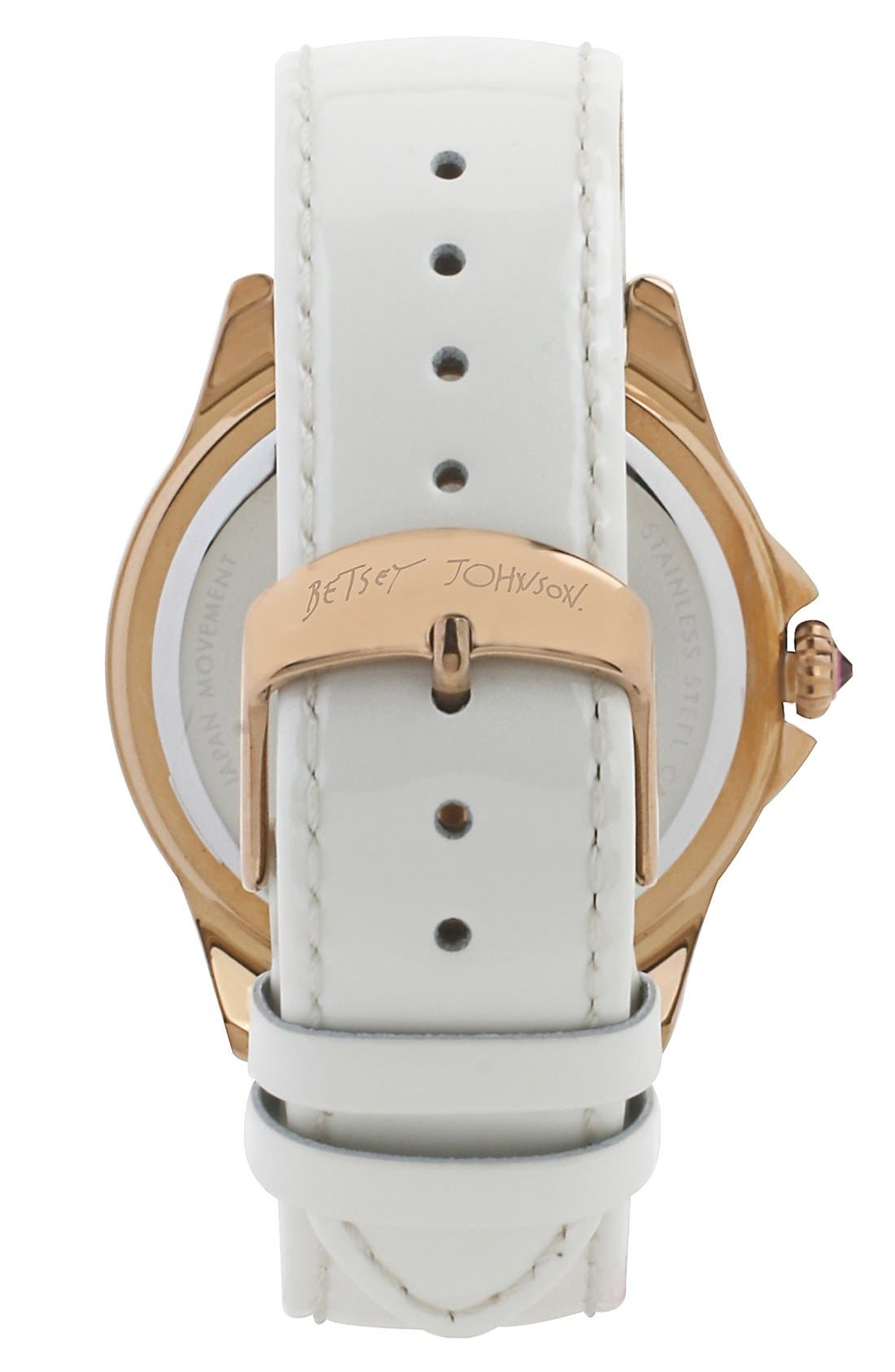 Alternate Image 2  - Betsey Johnson 'Bling Bling Time' Leather Strap Watch, 40mm