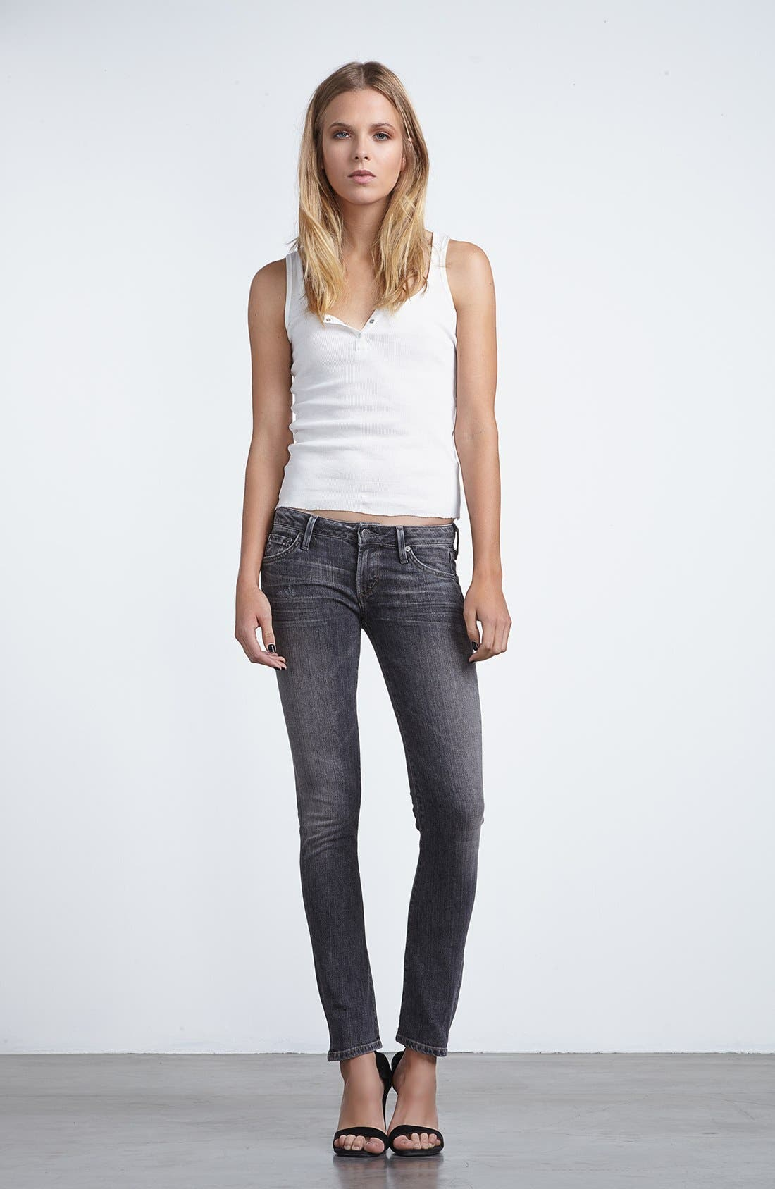 Alternate Image 4  - Citizens of Humanity 'Racer' Low Rise Skinny Jeans (Black Slash)