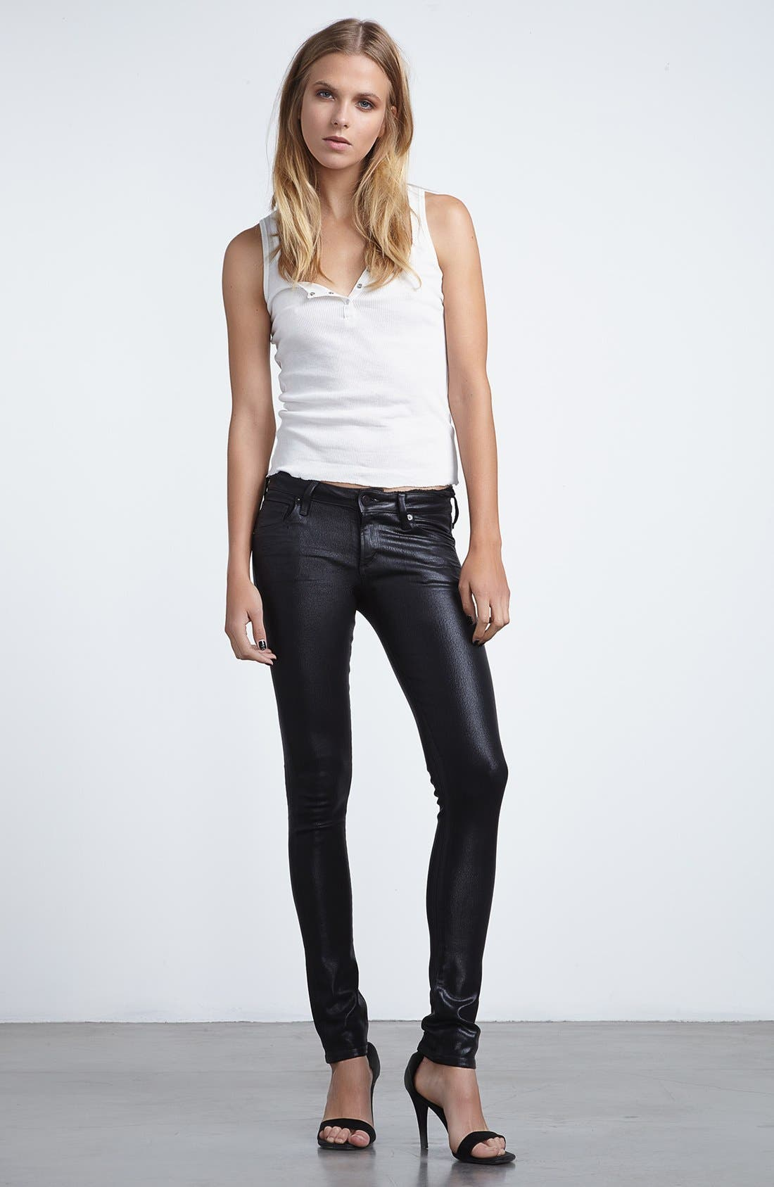 Alternate Image 4  - Citizens of Humanity 'Racer' Low Rise Coated Jeans (Black Coated)
