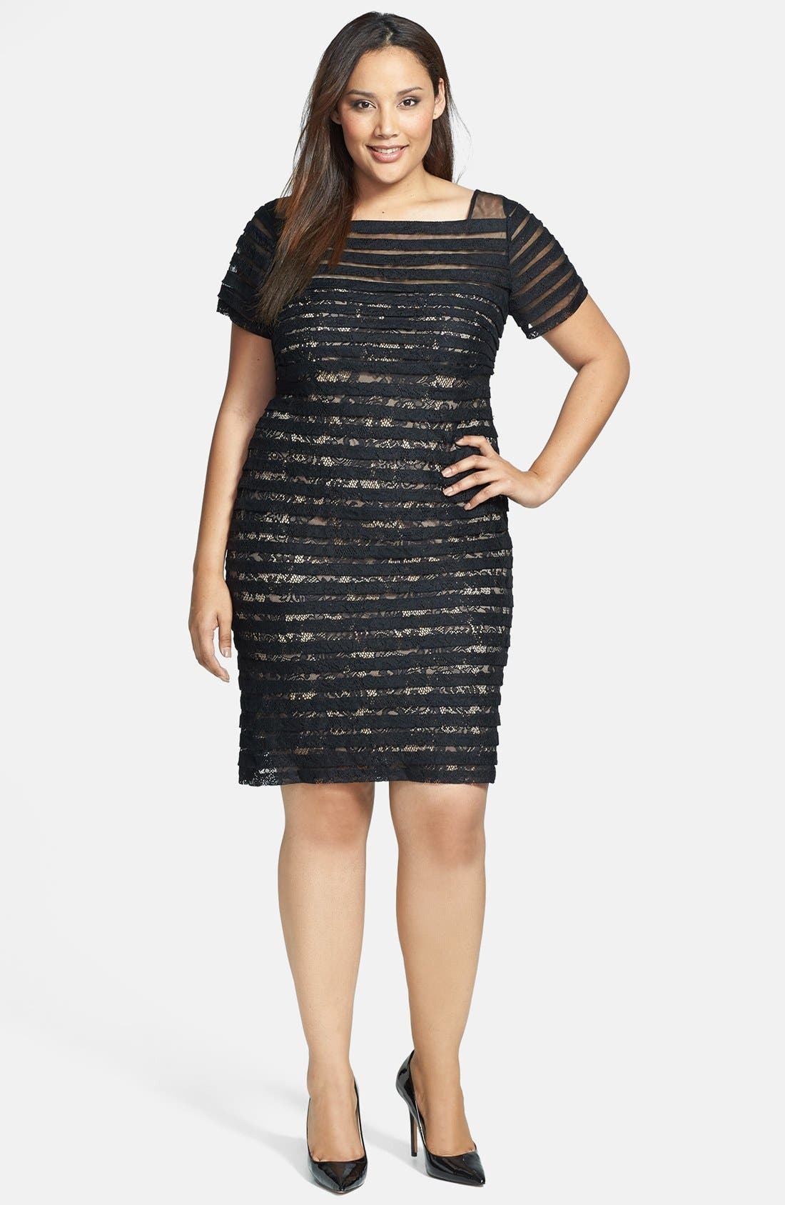 Alternate Image 1 Selected - Adrianna Papell Banded Illusion Sheath Dress (Plus Size)