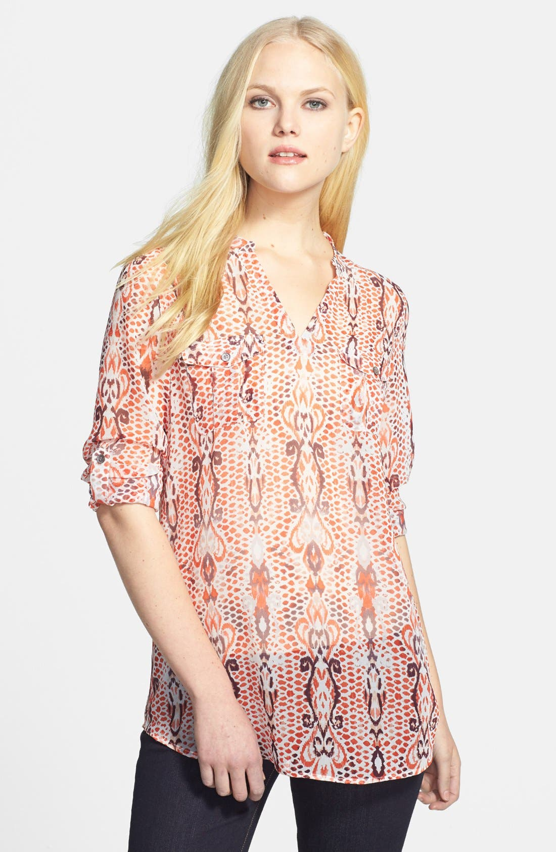 Alternate Image 1 Selected - Two by Vince Camuto Print Split Neck Blouse